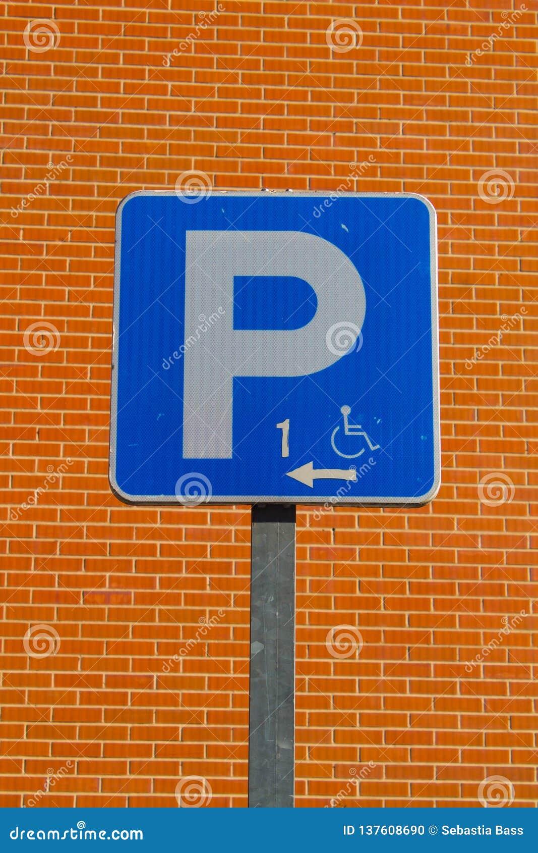 Gehandicapten die signage parkeren