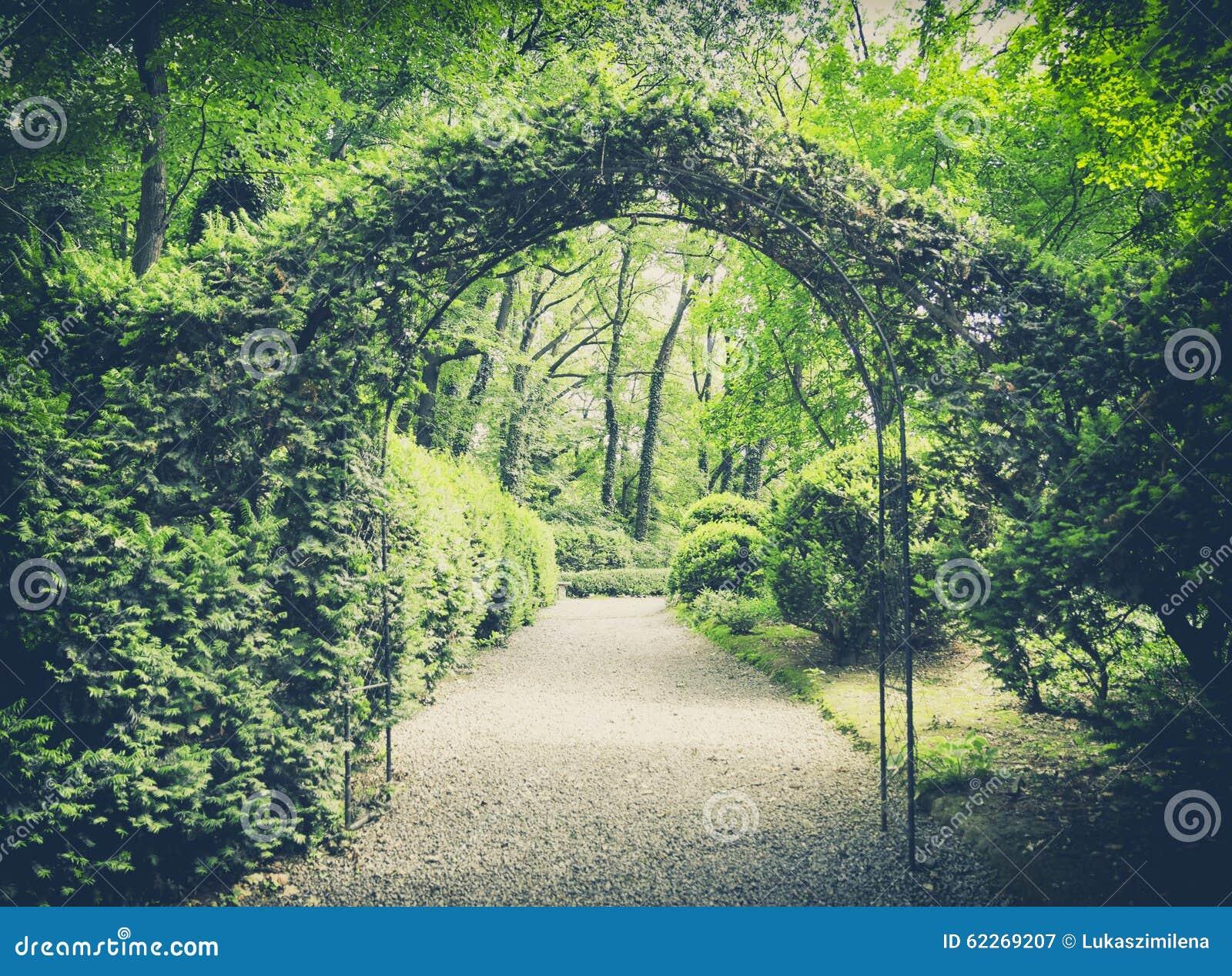 Geheimer Garten In Der Weinleseart Stockbild Bild Von Frühling