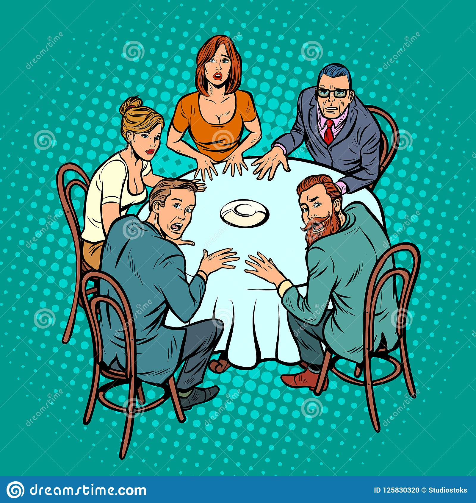 Geheimnisvoller Seance, Leute am Tisch