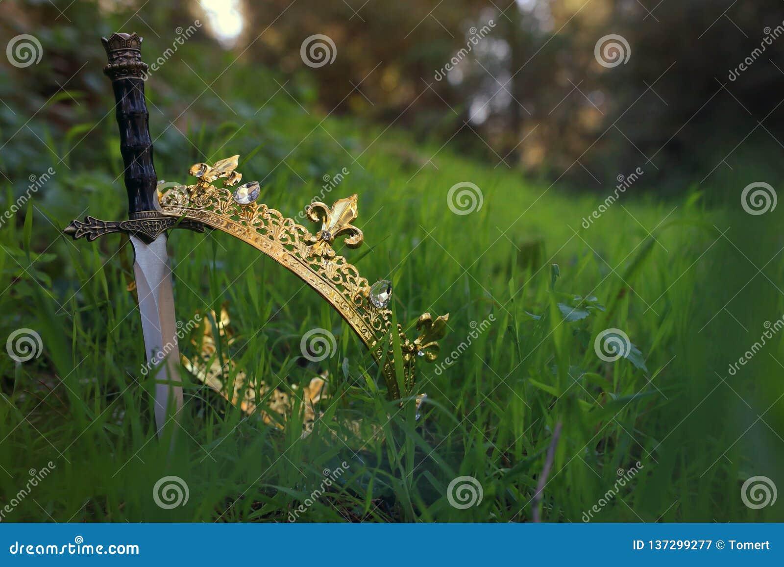Geheimzinnige en magische foto van gouden koningskroon en zwaard in het hout van Engeland of gebiedslandschap met lichte gloed mi