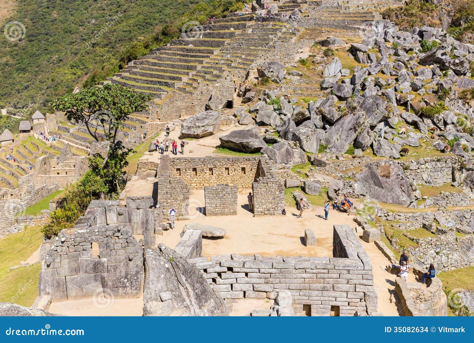 Geheimzinnige stad machu picchu peru zuid amerika. het de ruïnes