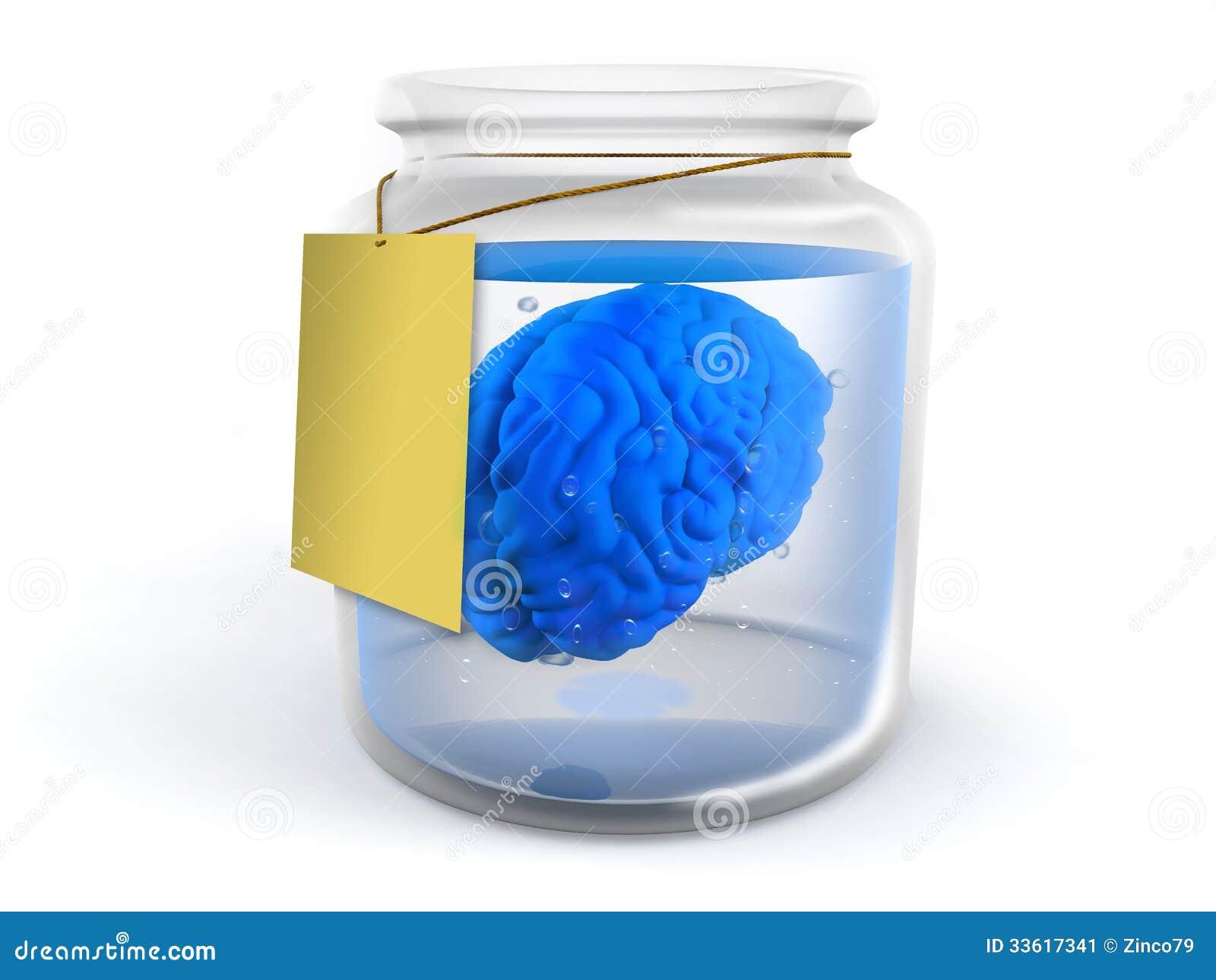 Gehirn im Glas stock abbildung. Illustration von lernen - 33617341