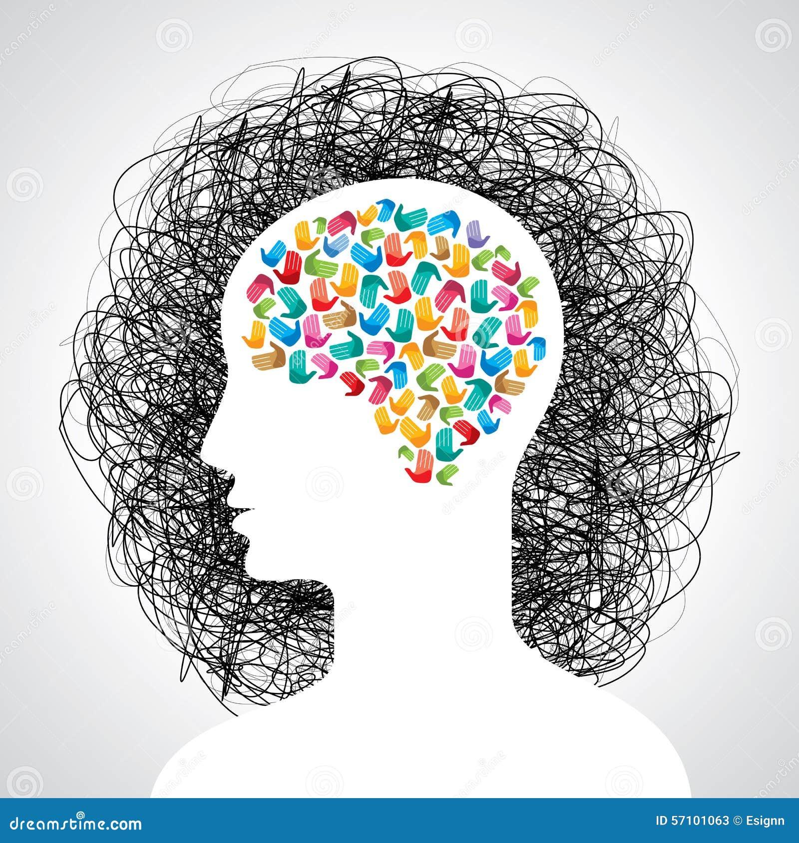 Gehirn Mit Vielen Händen Kreative Idee Vektor Abbildung ...