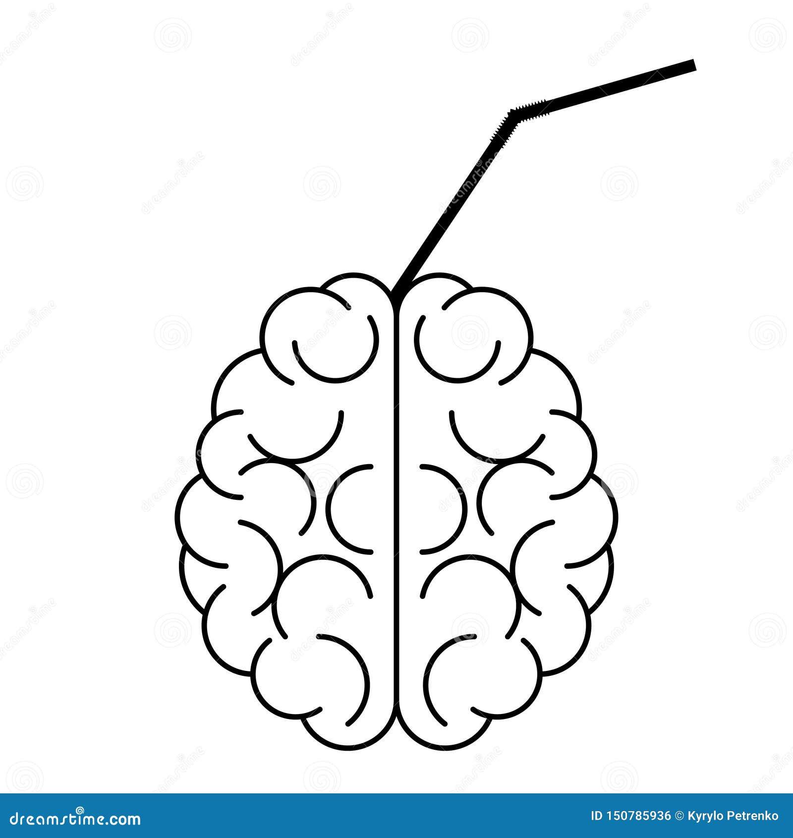 Gehirnikone mit Cocktailrohr in ihm