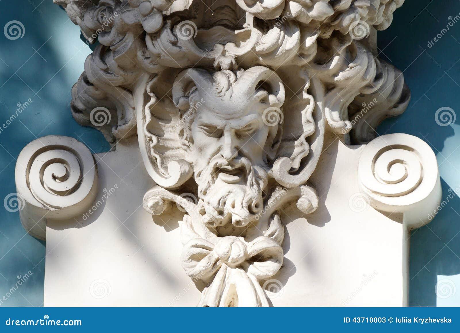 Gehoornd hoofd van sater oude huisdecoratie griekse mythologie stock foto afbeelding 43710003 - Oude huisdecoratie ...