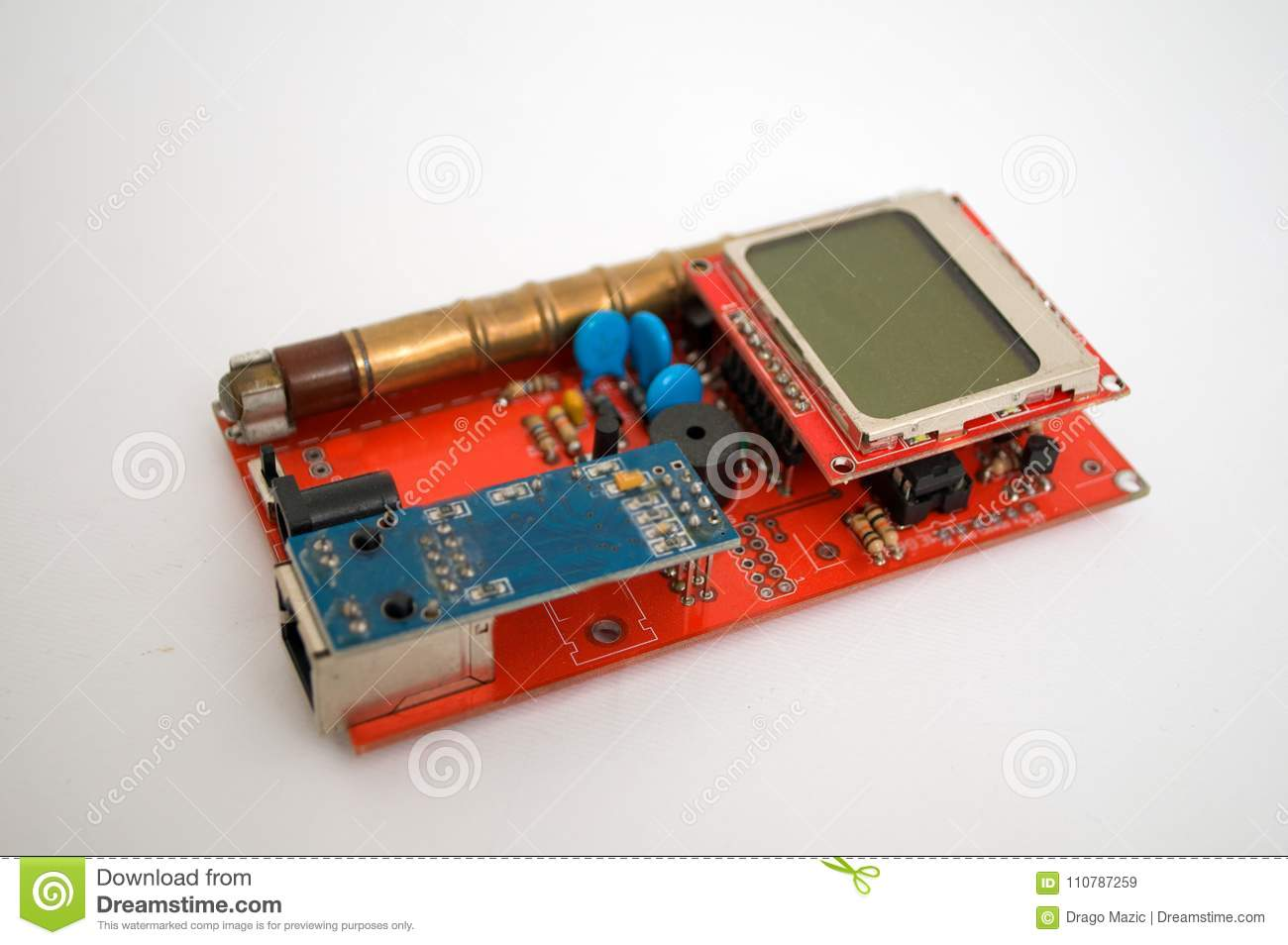 Geiger counter on a white background