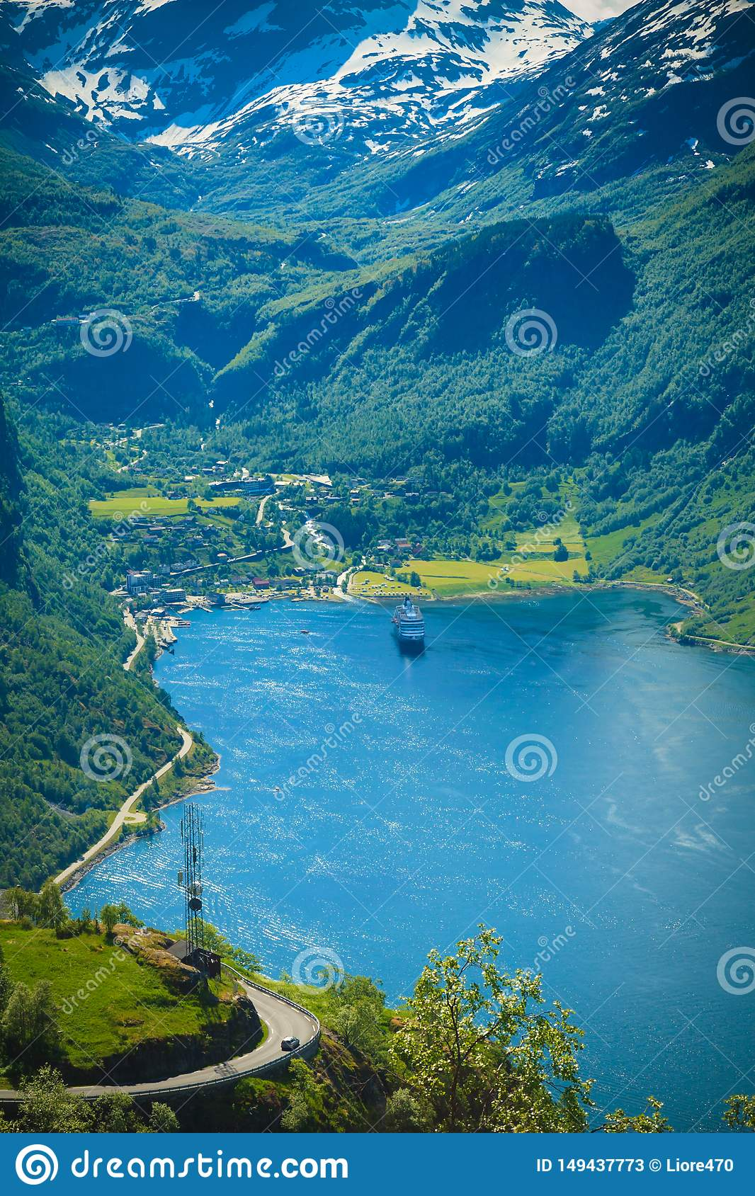 Geiranger海湾的壮观的看法在挪威