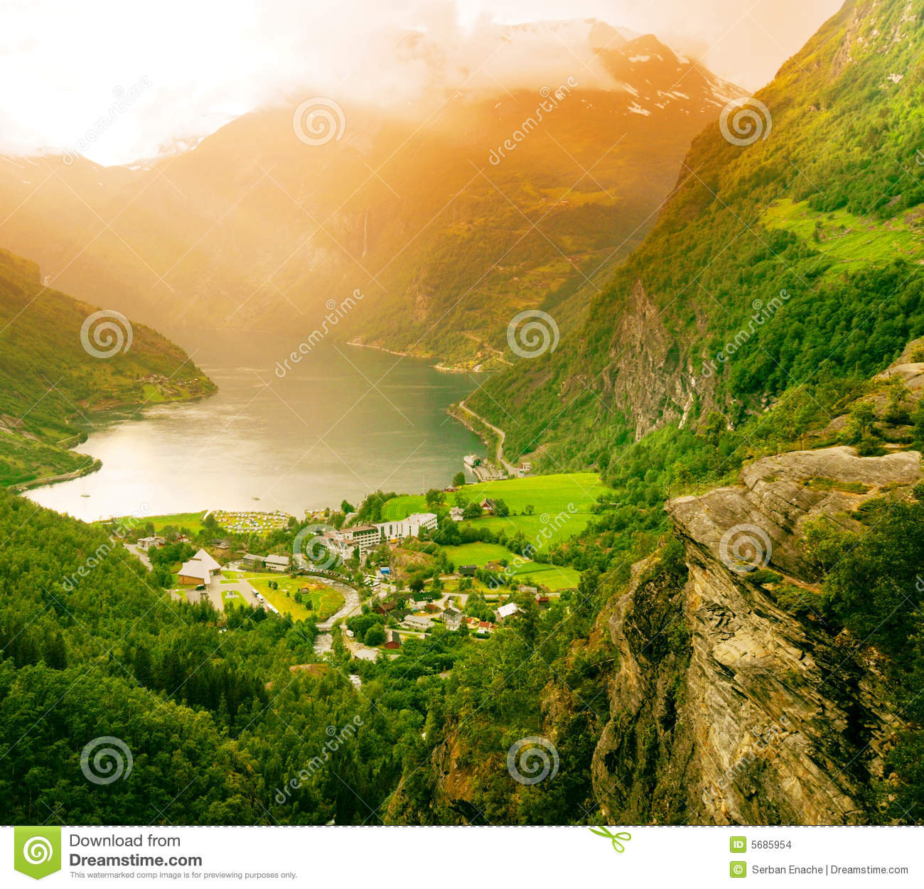 Norway fjord field and mountains view from above royalty free stock photography cartoondealer - The house on the rock the ultimate refuge in a norwegian fjord ...