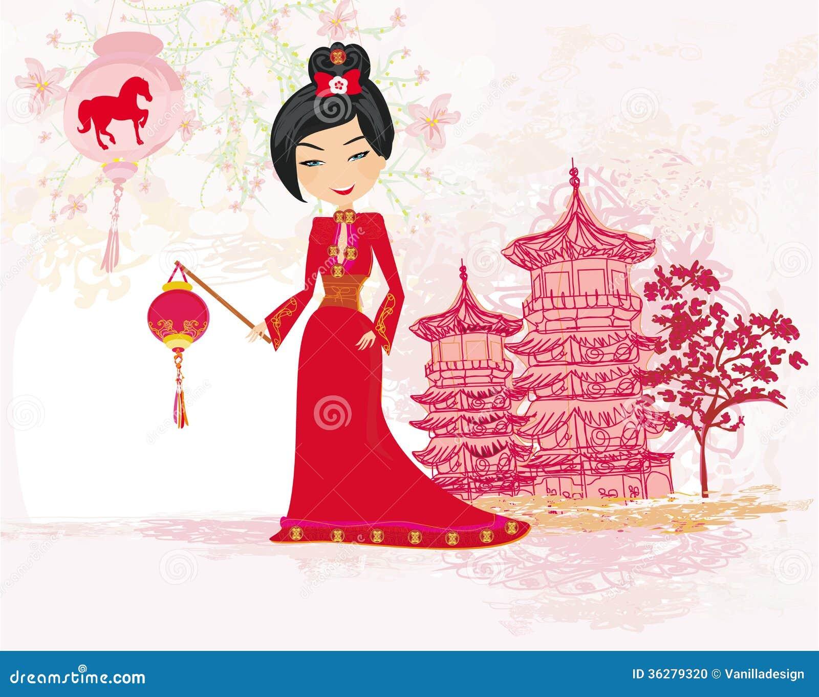 Geisha Celebrated Chinese New Year Stock Photo