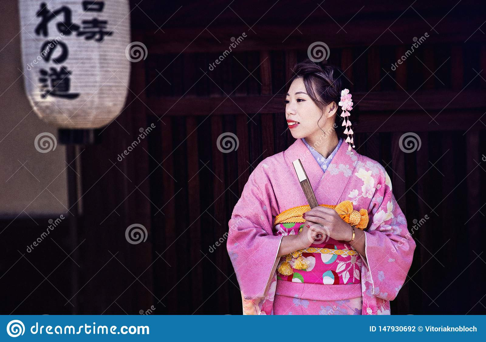 A geisha in the city of Kyoto