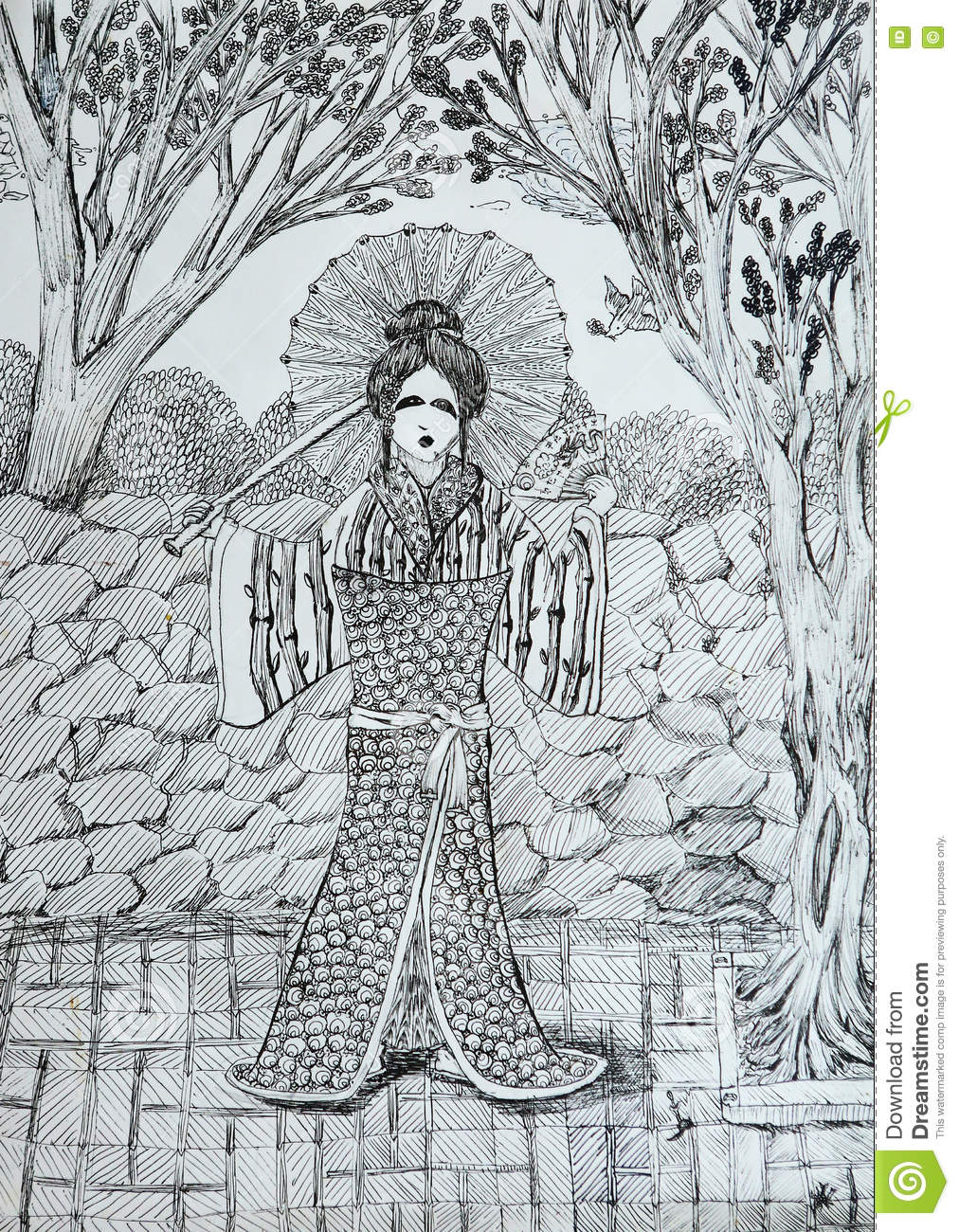 Geisha With Fan In The Japanese Garden Drawing