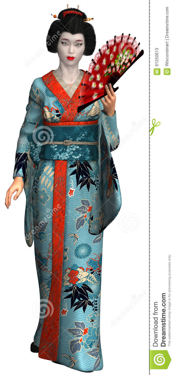 Geisha Girl Woman Isolated Illustration Stock Photo