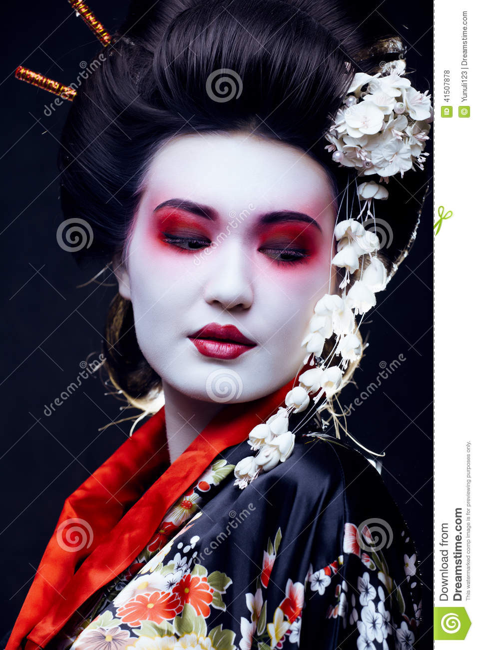 Geisha In Kimono On Black Stock Photo Image 41507878