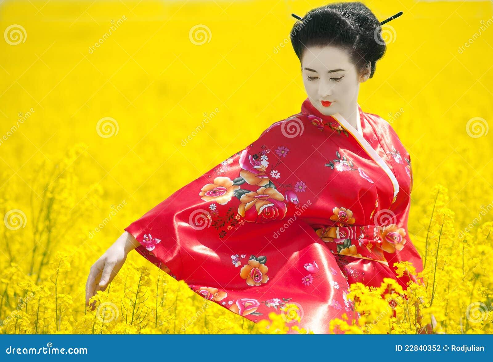 Geisha op het gele gebied