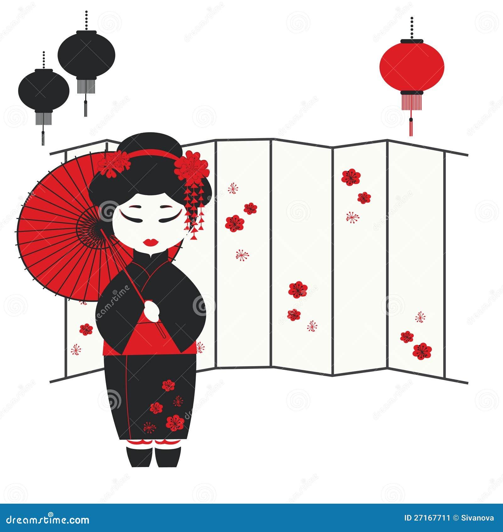 Geishamädchen mit Regenschirm