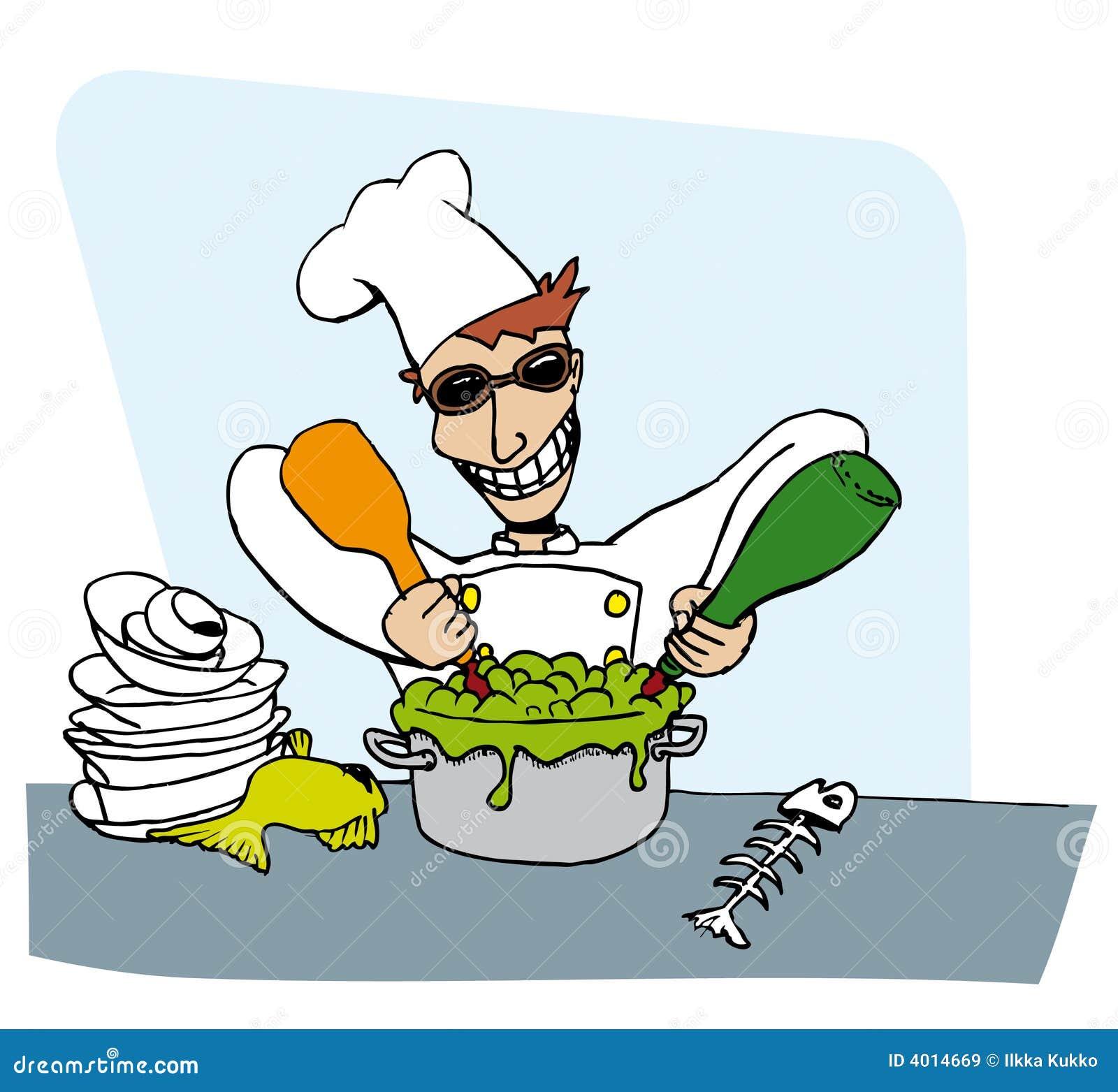 Gekke grafische chef-kok