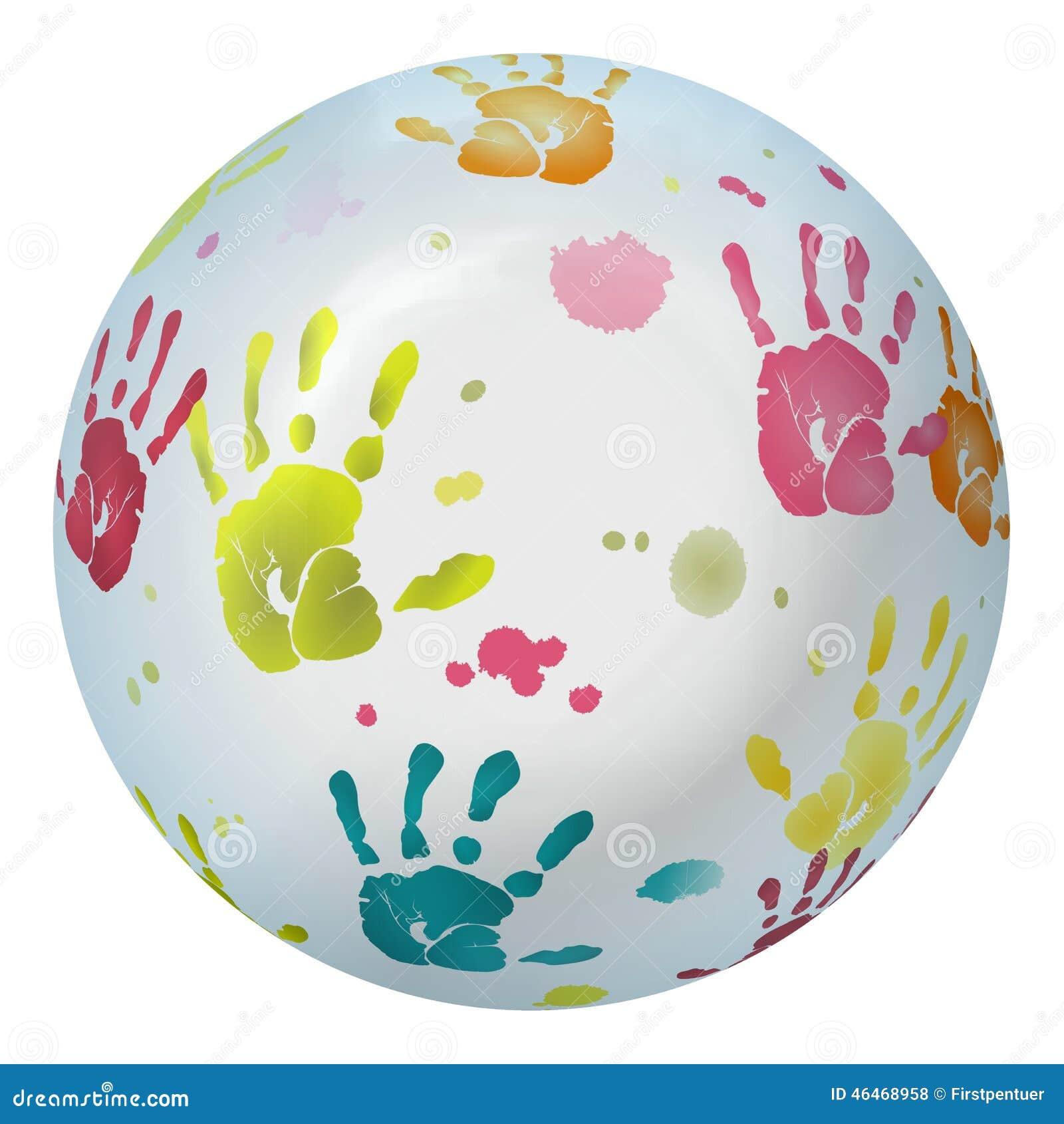 Gekleurd divers handprints in kaart gebracht op bal