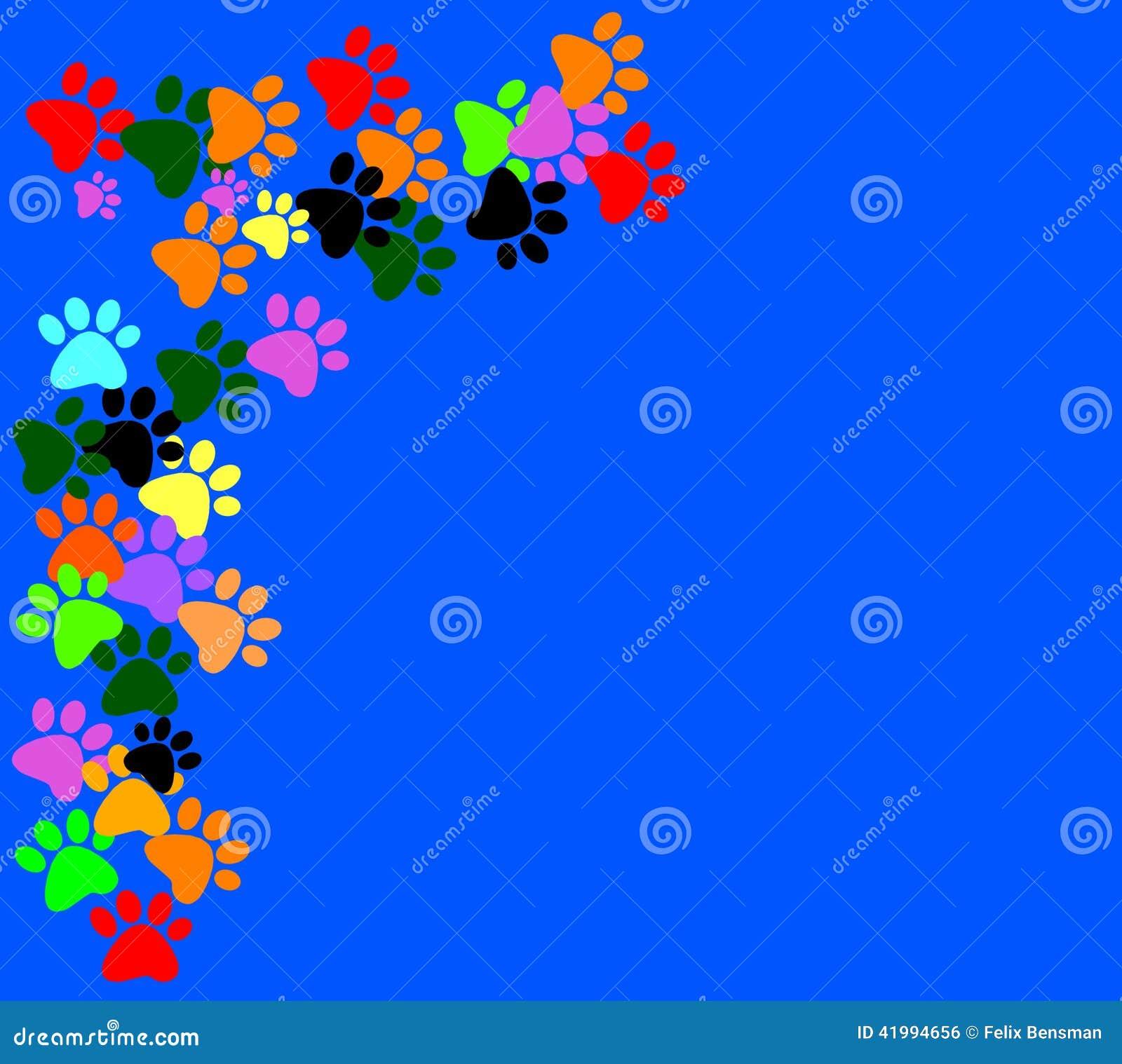 Gekleurd pawprints op blauwe achtergrond