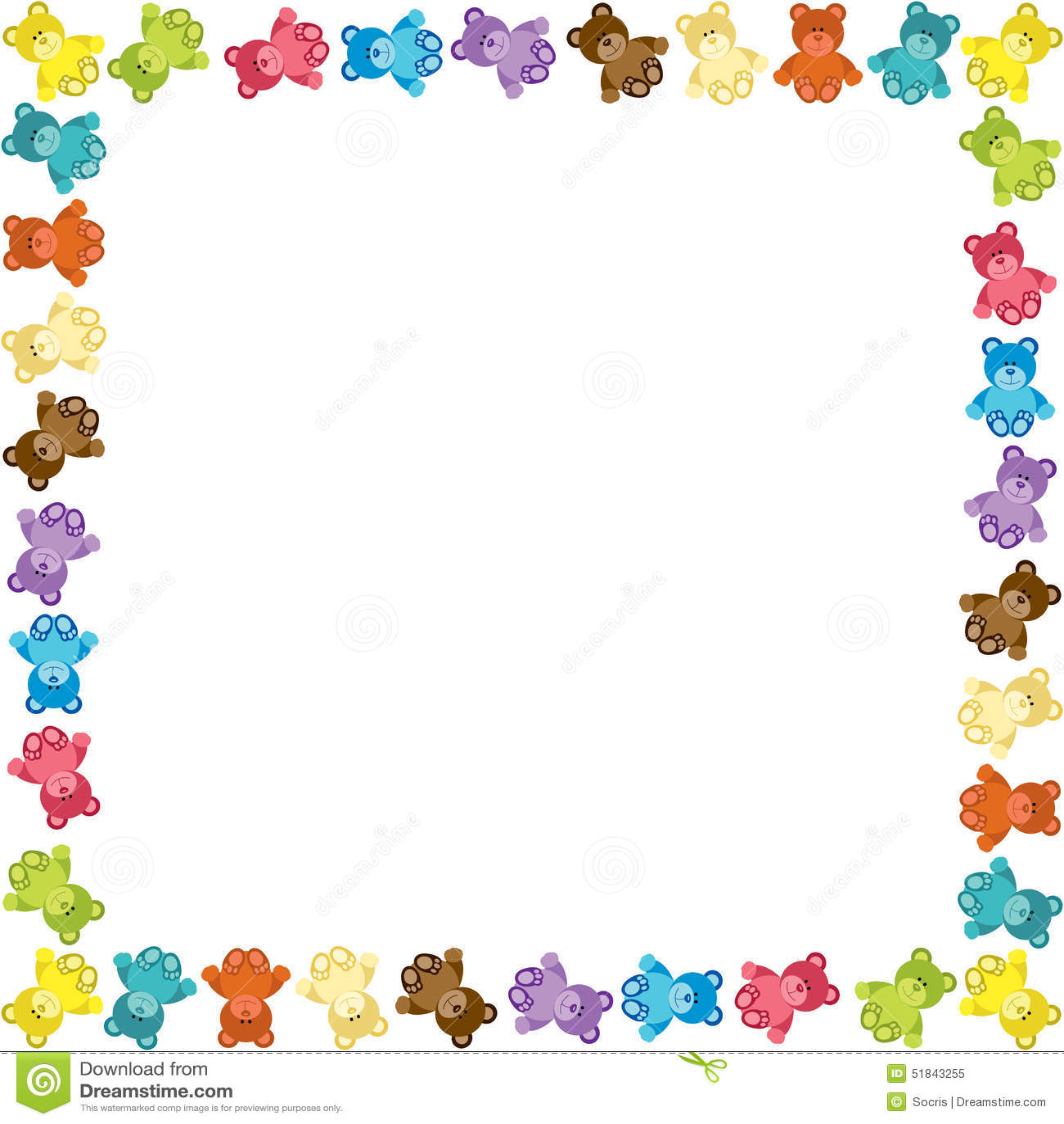 Gekleurd Teddy Bear Frame vector illustratie. Illustratie bestaande ...