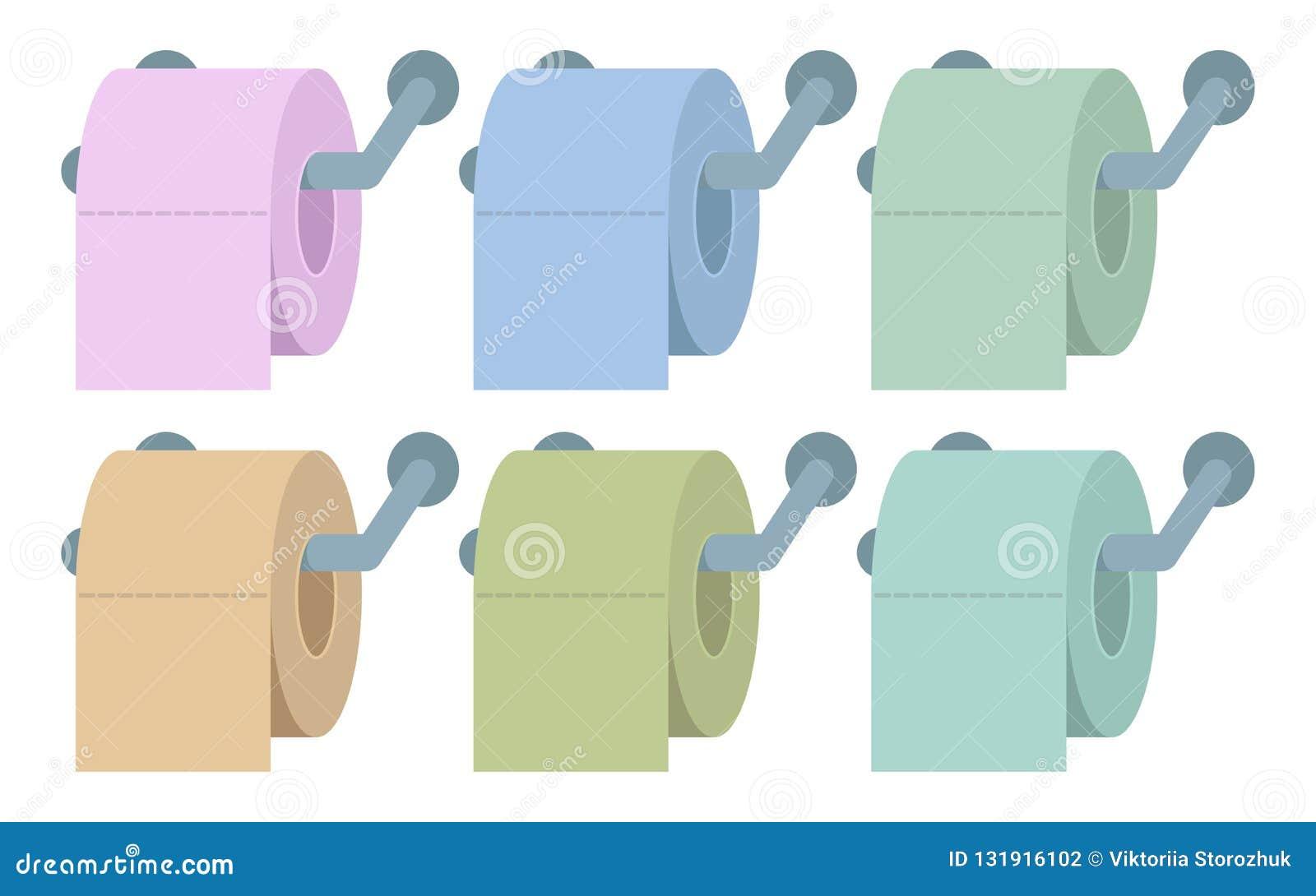 Gekleurd toiletpapier, toiletpapier met lange schaduw, toiletpapierembleem