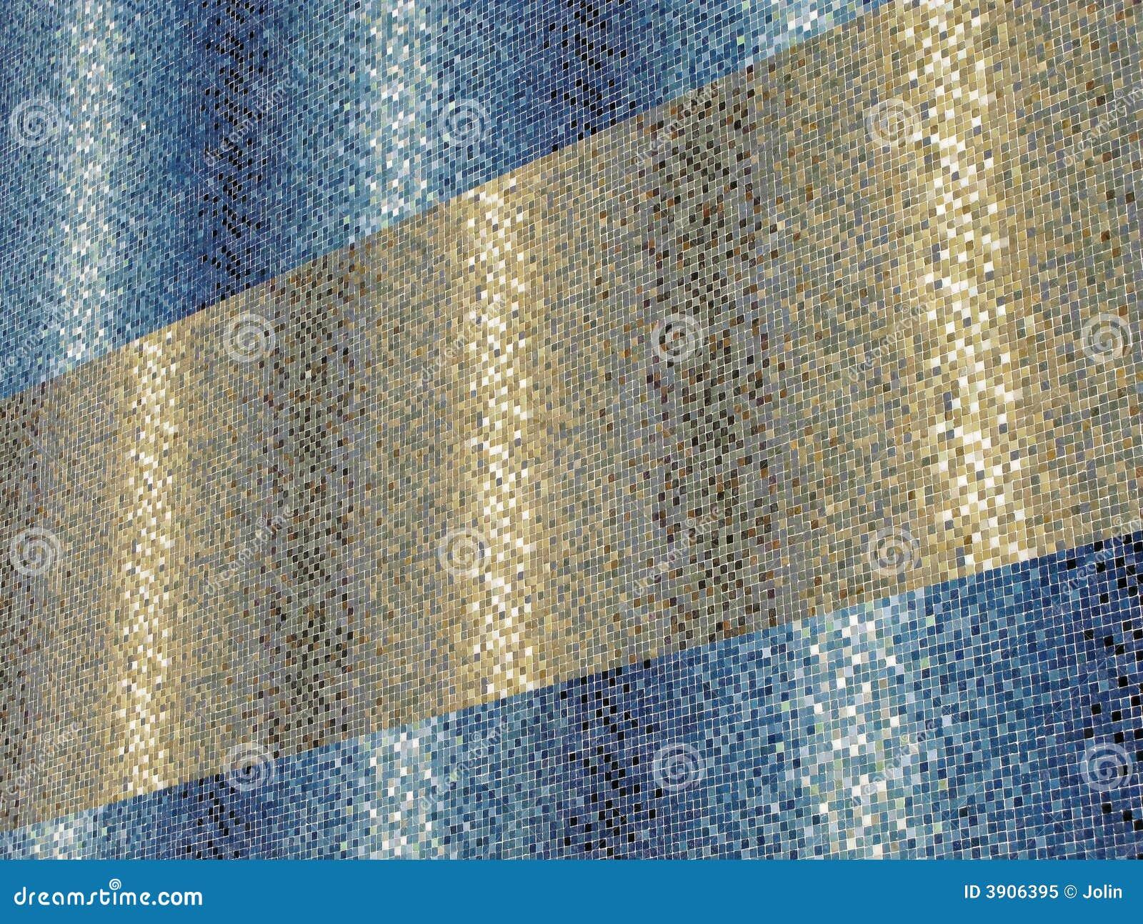 Gekleurde blauwe en gouden tegels