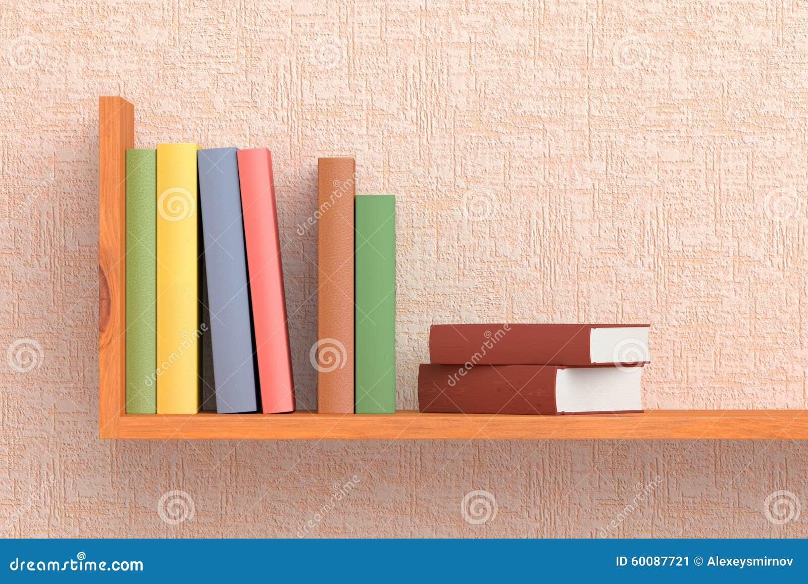 Gekleurde Boeken Op Houten Boekenrek Op De Muur Stock Illustratie