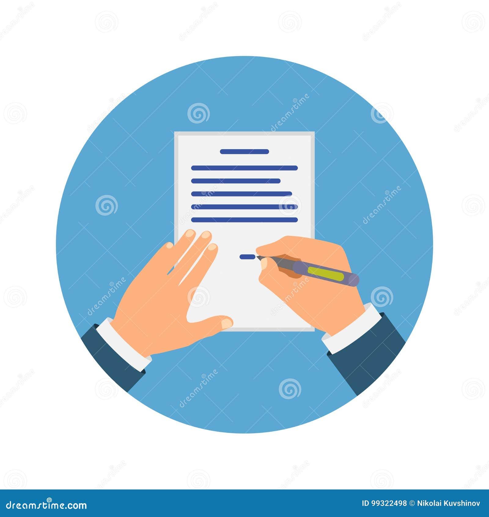 Gekleurde Cartooned-Hand die Contract ondertekenen