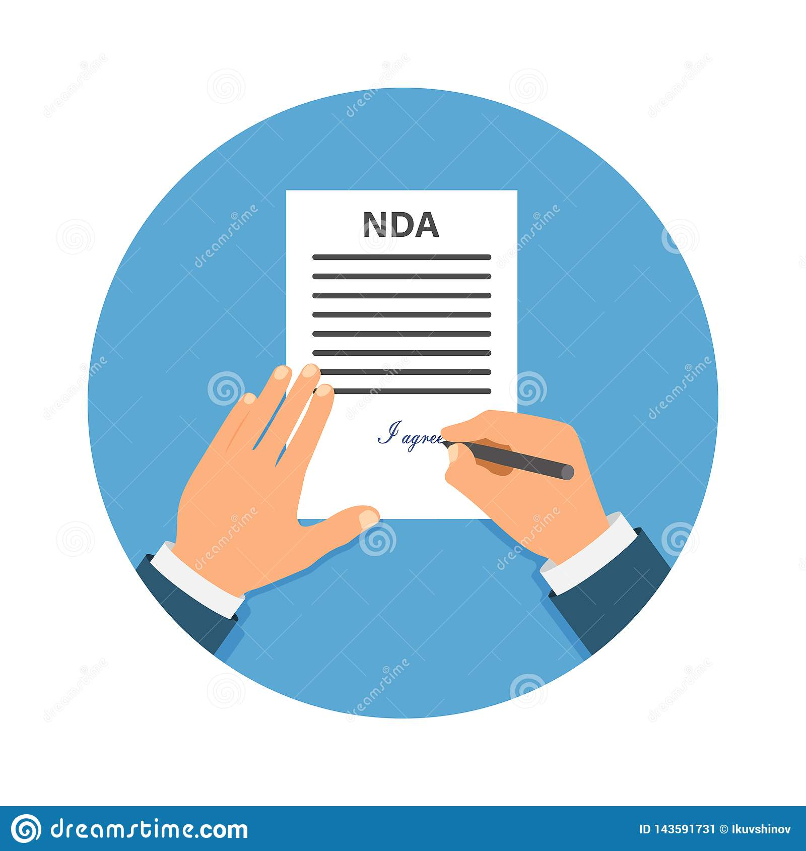 Gekleurde Cartooned-Hand die NDA ondertekenen Contract Ondertekend document NDA-concept Geheime dossiers