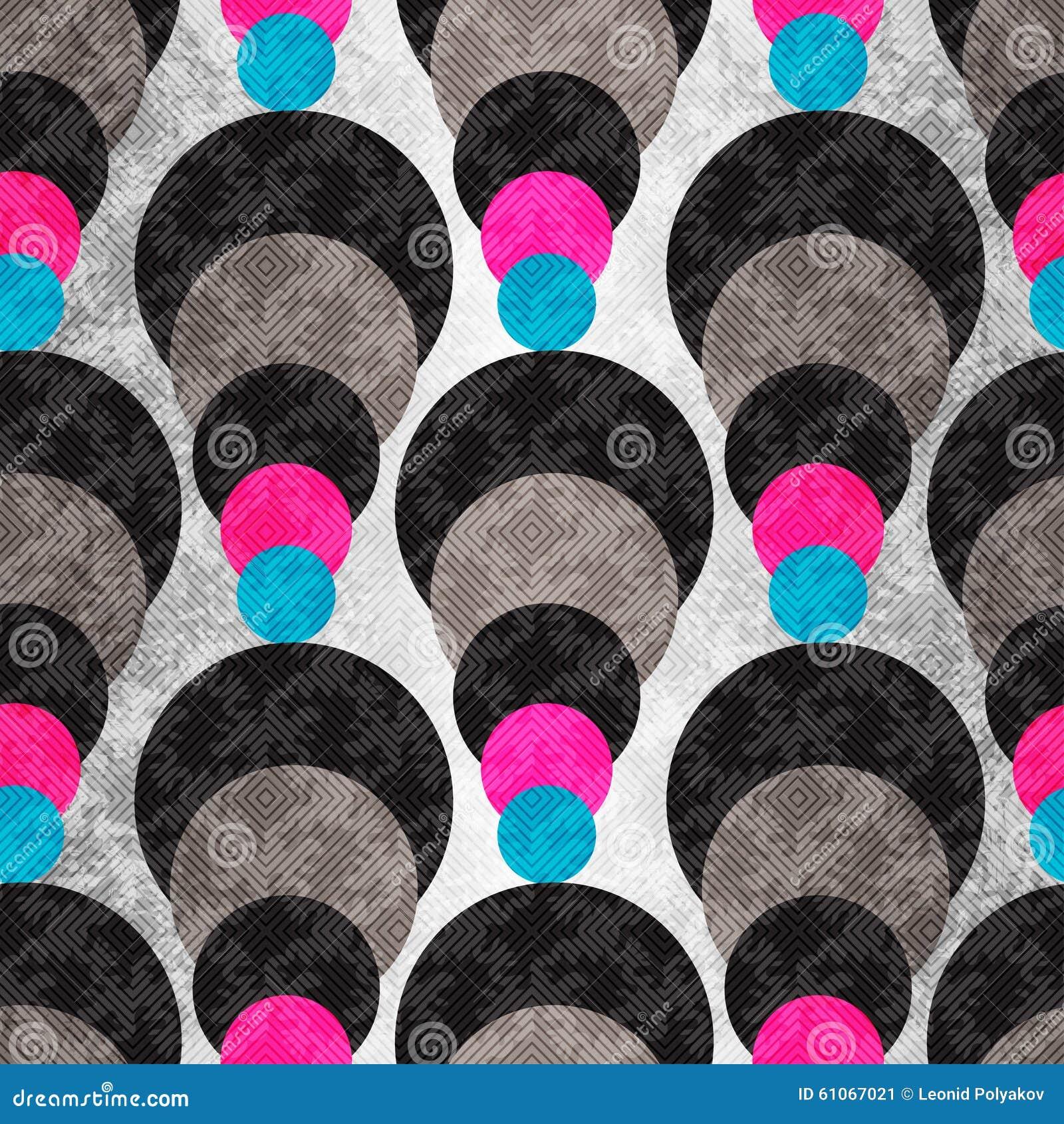 Gekleurde cirkels op een grijze achtergrond met verlichting Naadloos Geometrisch Patroon