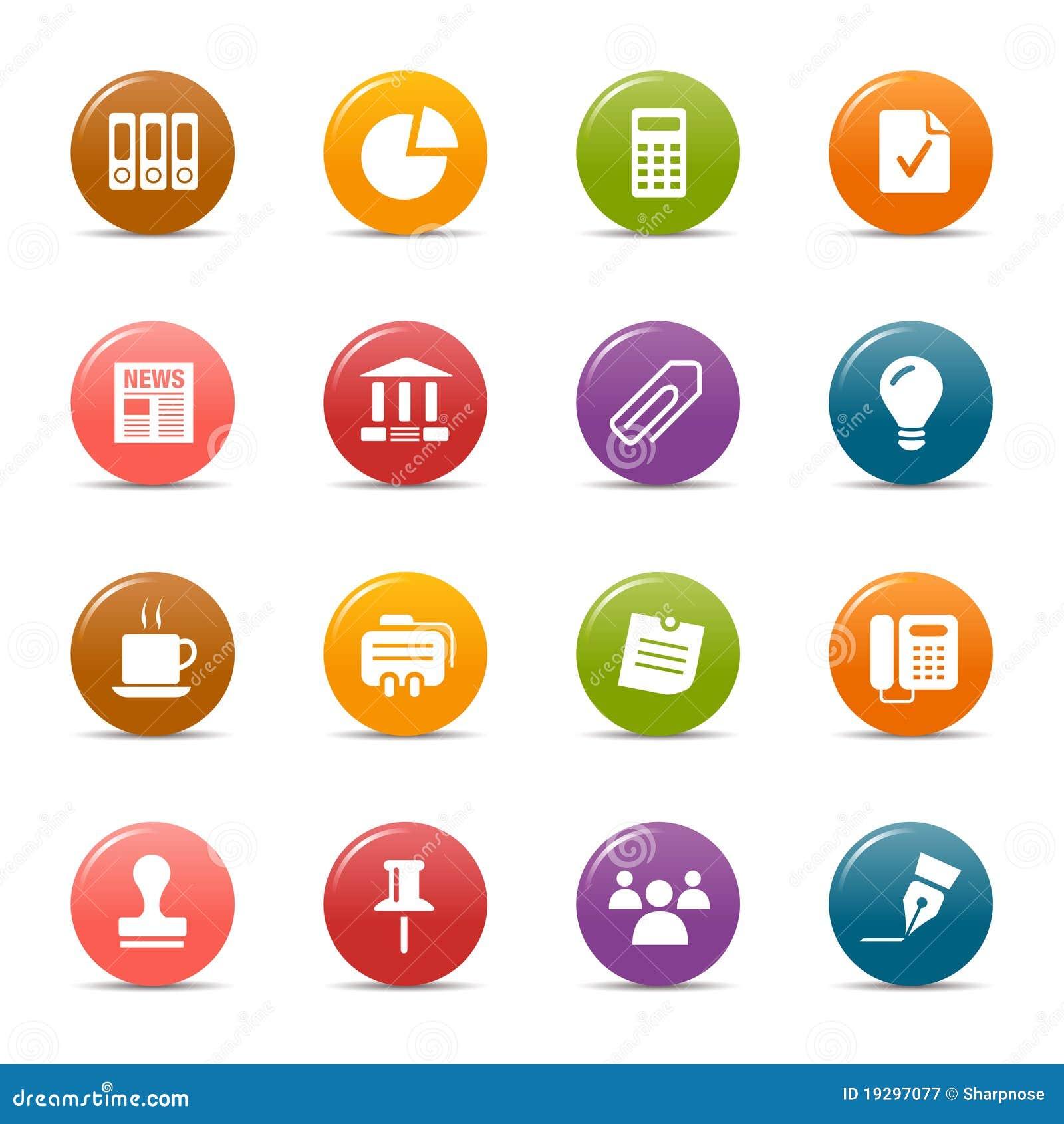 Gekleurde punten - de Bedrijfspictogrammen van het Bureau en