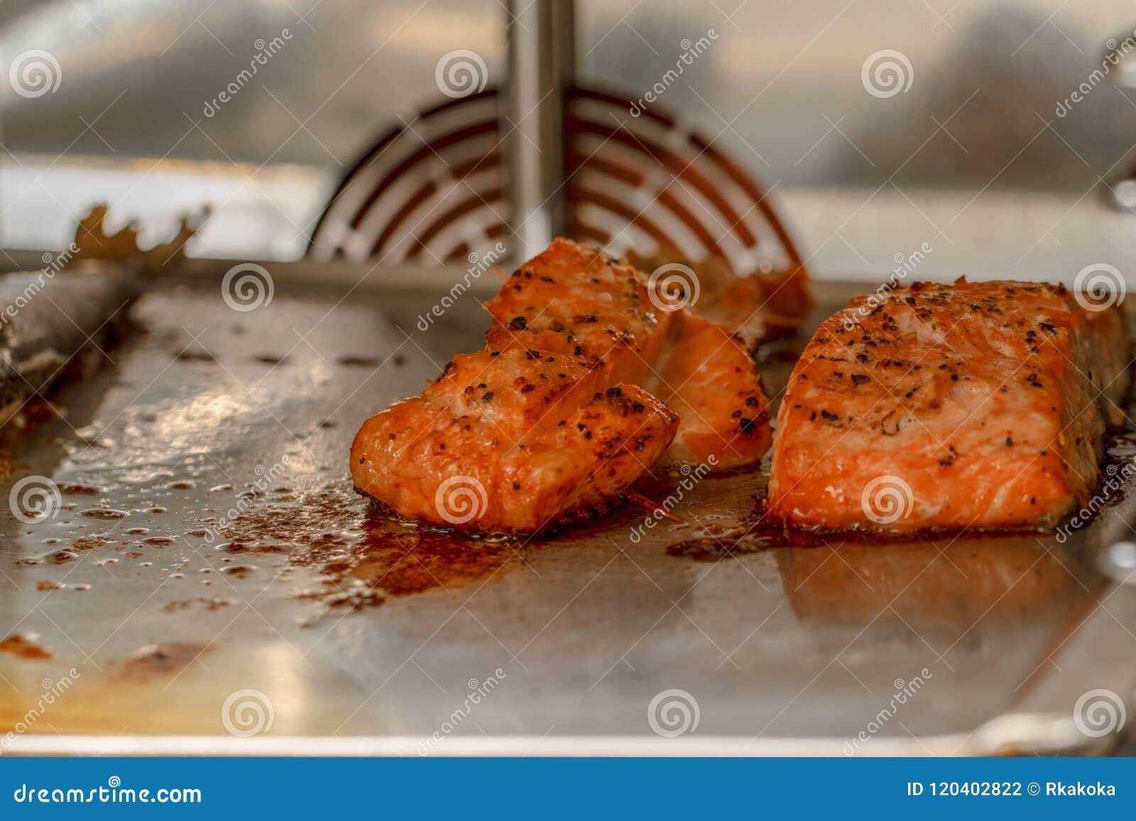 Gekookte zalm en andere vissen binnen de ovenmening Gemarineerde zalmzeevruchten die binnen de oven, gezonde bron roosteren van o
