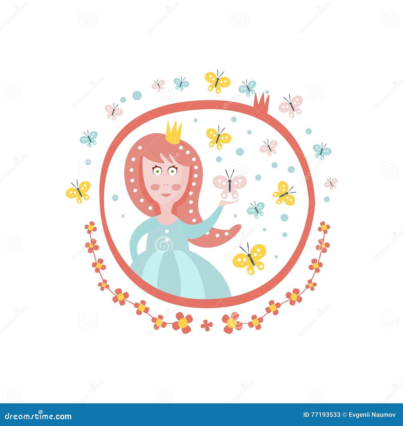 Gekrönter Girly Aufkleber Prinzessin-Fairy Tale Character Im Runden ...
