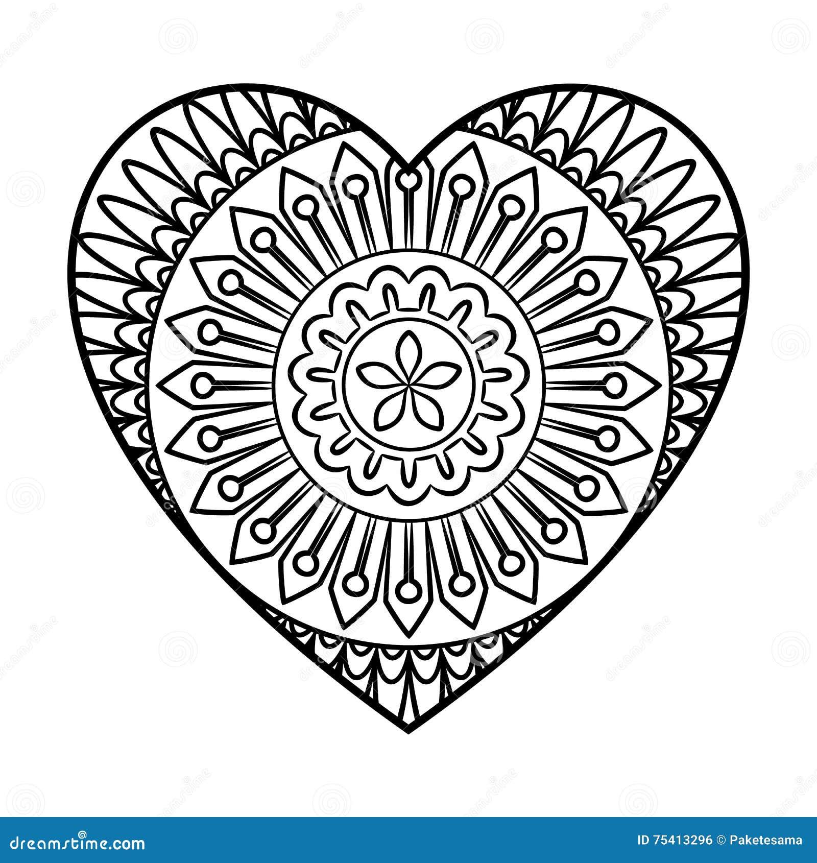 Gekritzel-Herz-Mandala vektor abbildung. Illustration von blume ...