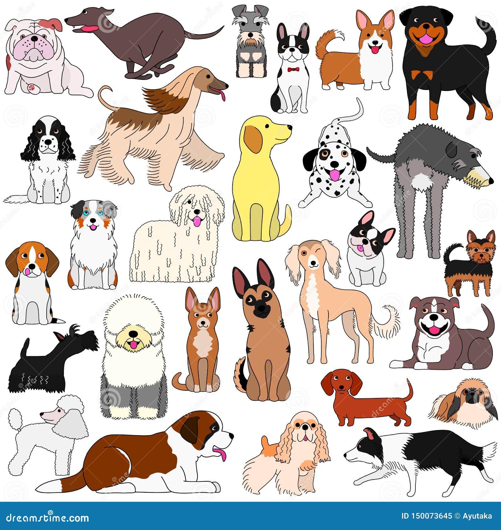 Gekritzel von verschiedenen netten Hunden