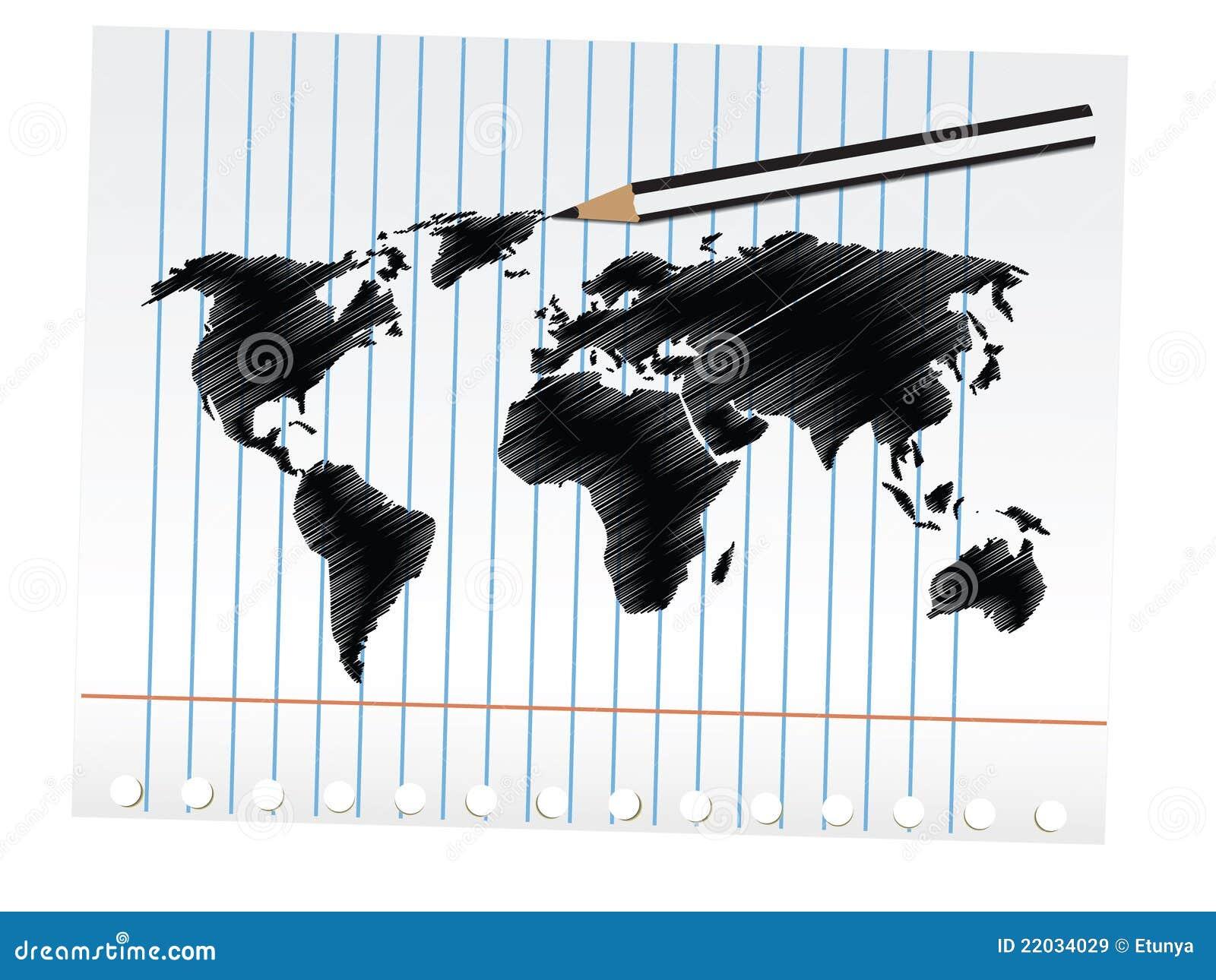 Gekritzel-Weltkarte