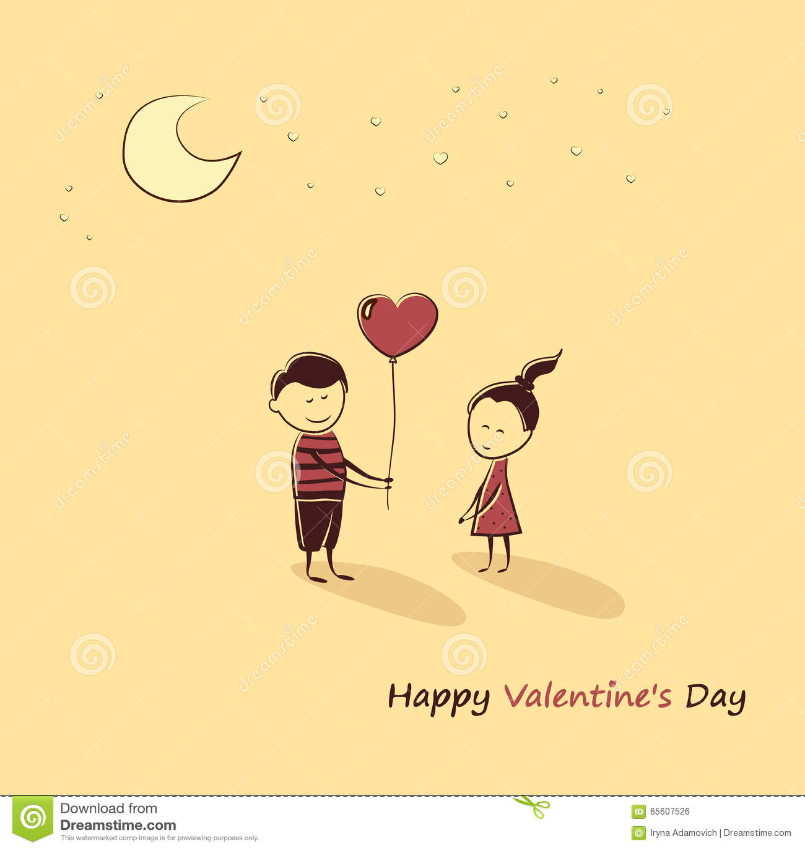 Gekritzelliebhaber: Ein Junge Und Ein Mädchen Mit Einem Ballonherzen Text Glücklicher  Valentinstag