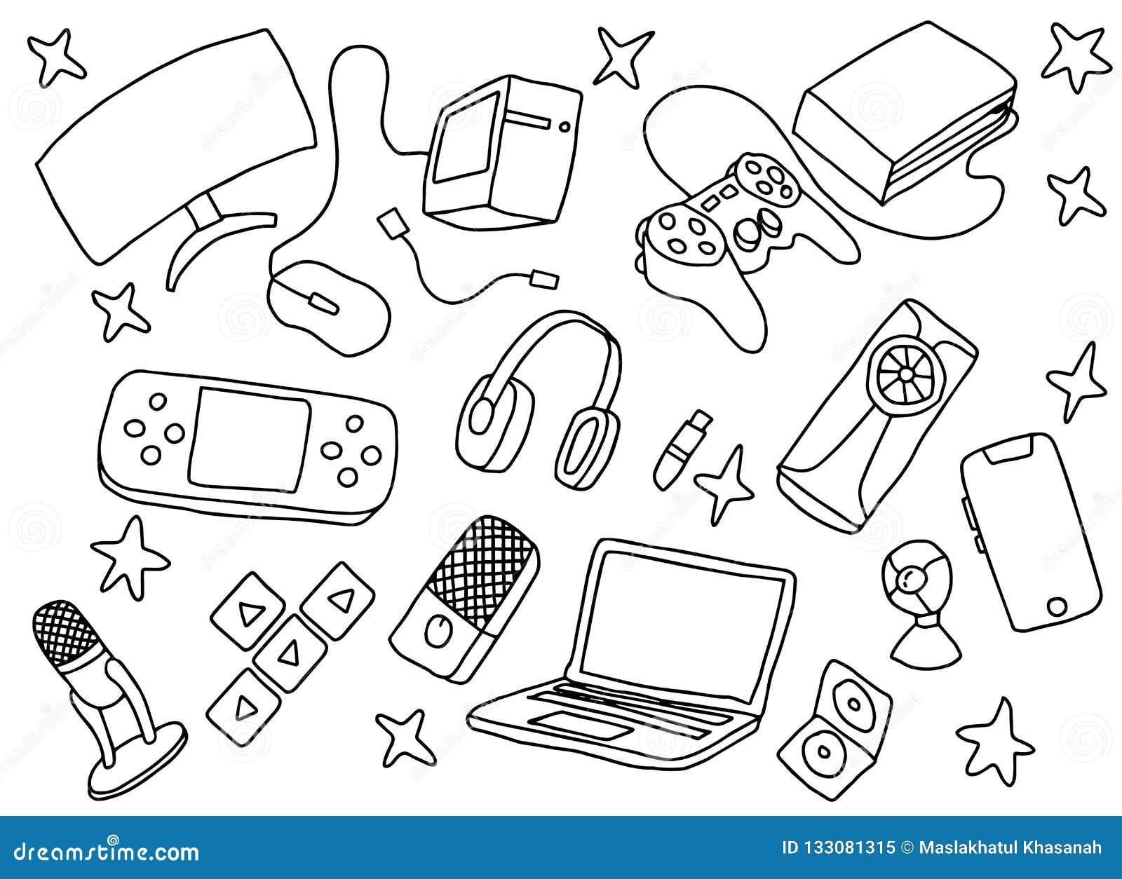 Gekritzelspiel-Spielkunst mit Spielwerkzeug-Hardware und Schwarzweiss-Farbe