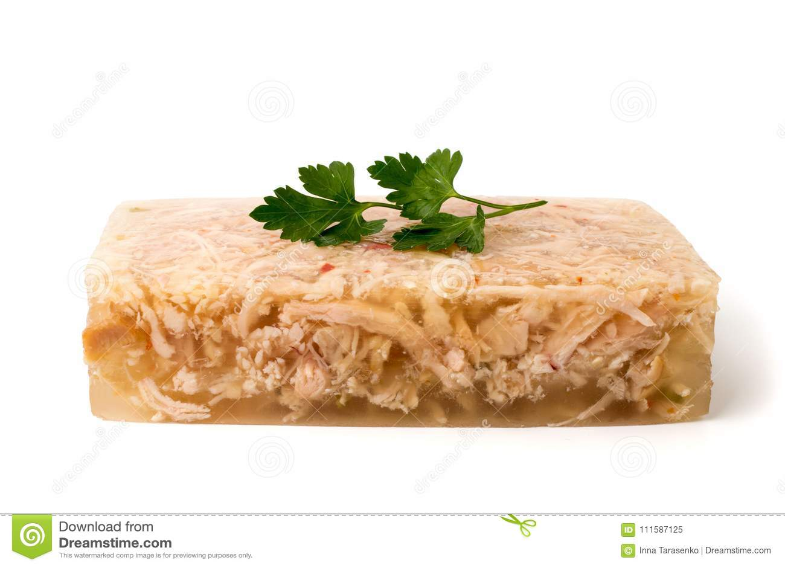 Gelée de viande avec le persil sur un blanc
