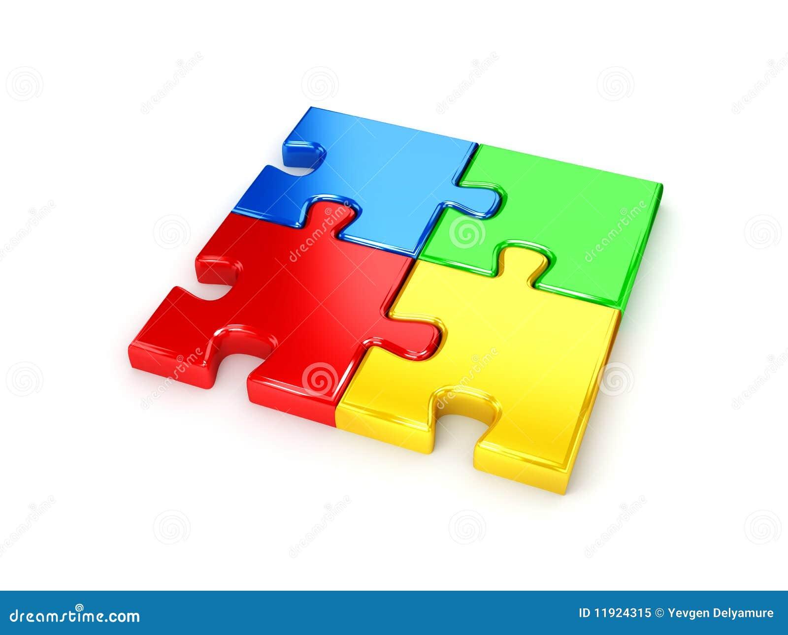 Gelöstes Puzzlespiel Von Der Blauen, Roten, Grünen Und Gelben Torte ...