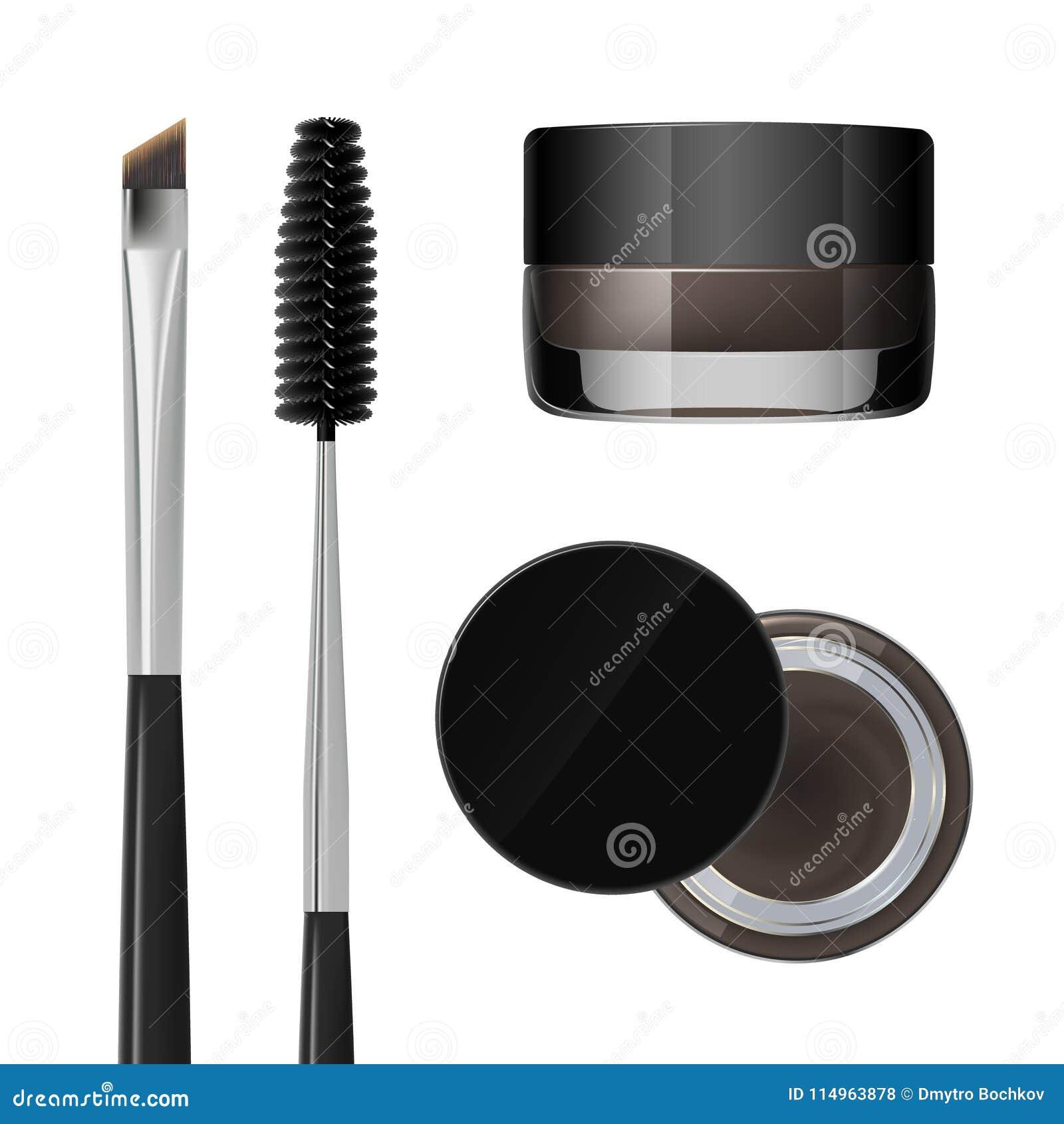 Gel de coloration pour des sourcils Produit de maquillage de sourcils Brosse et peigne pour le sourcil D isolement sur un fond bl