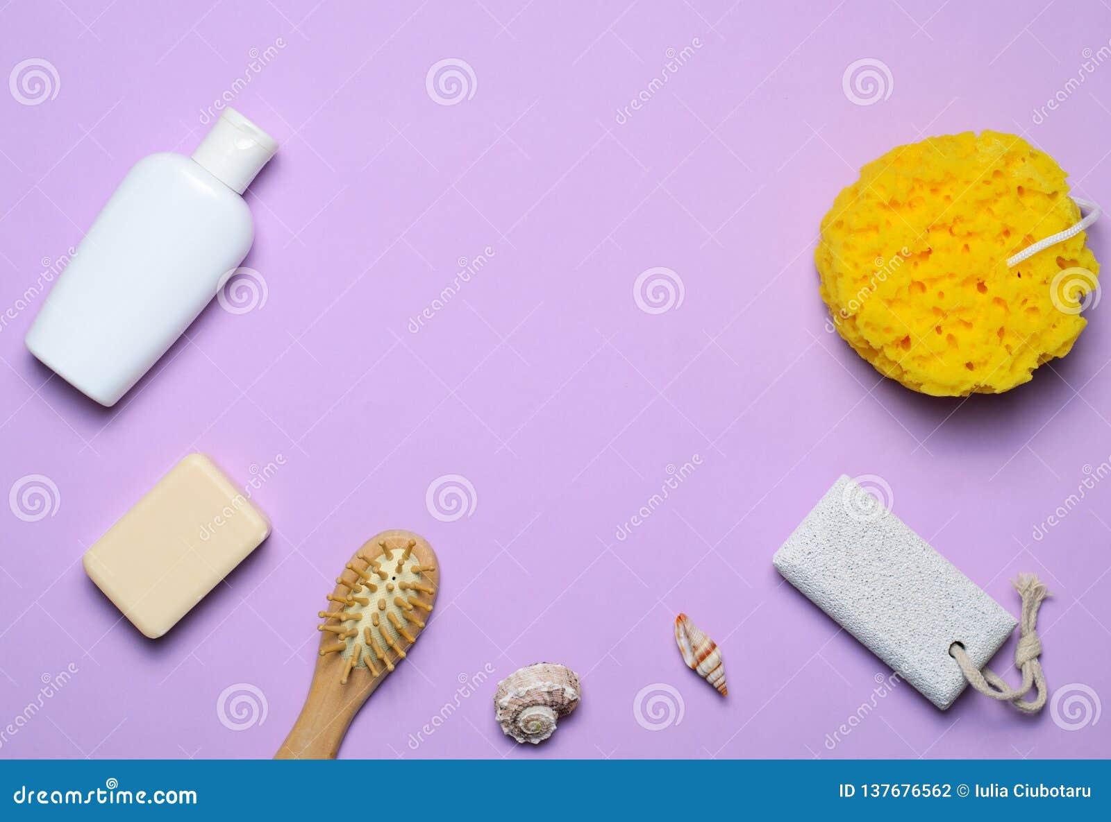 Gel de concept, d éponge, de shampooing ou de douche d articles de Bath, brosse de cheveux, pierre ponce, vue supérieure