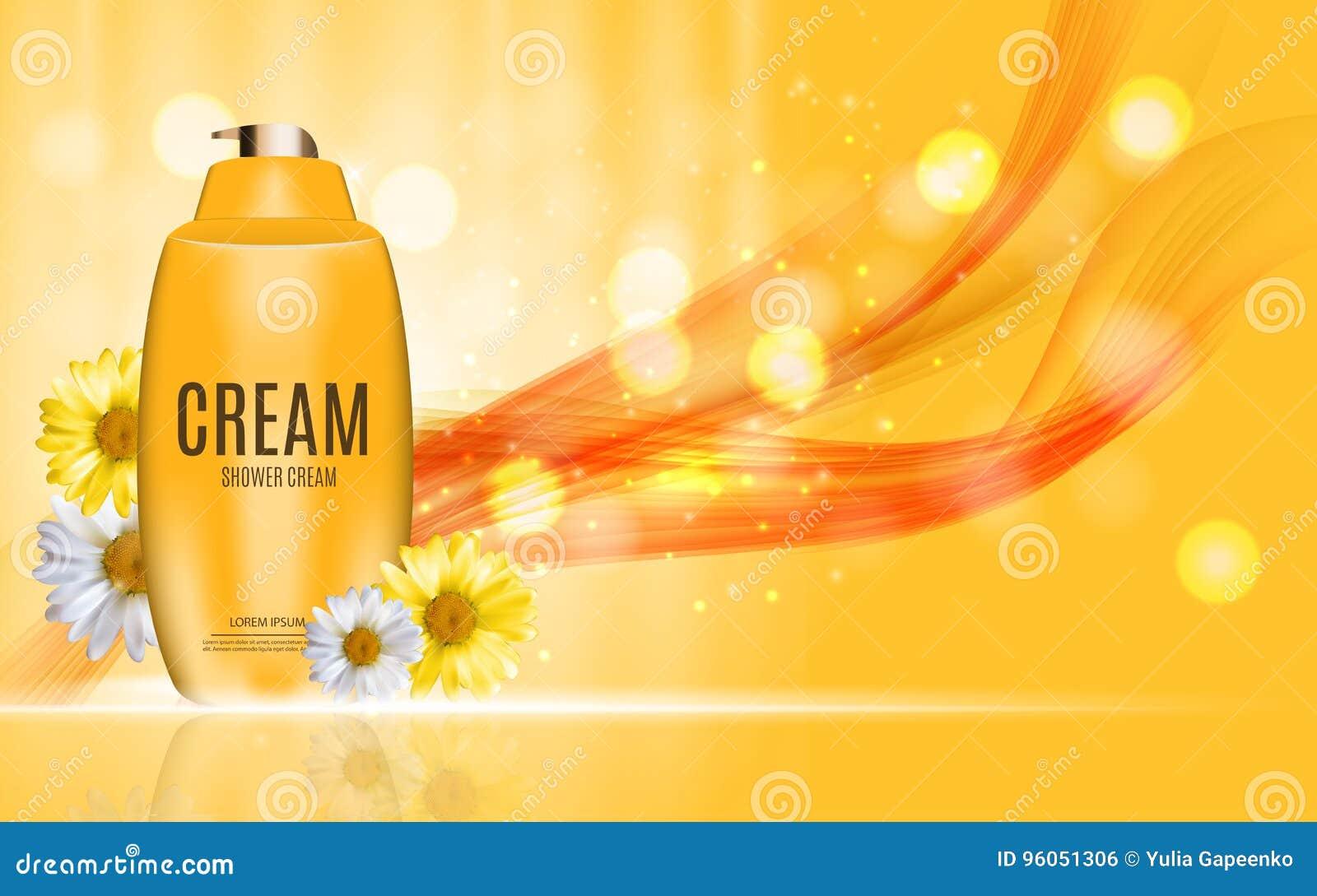 Gel de douche, bouteille crème avec le calibre de camomille de fleurs pour des annonces