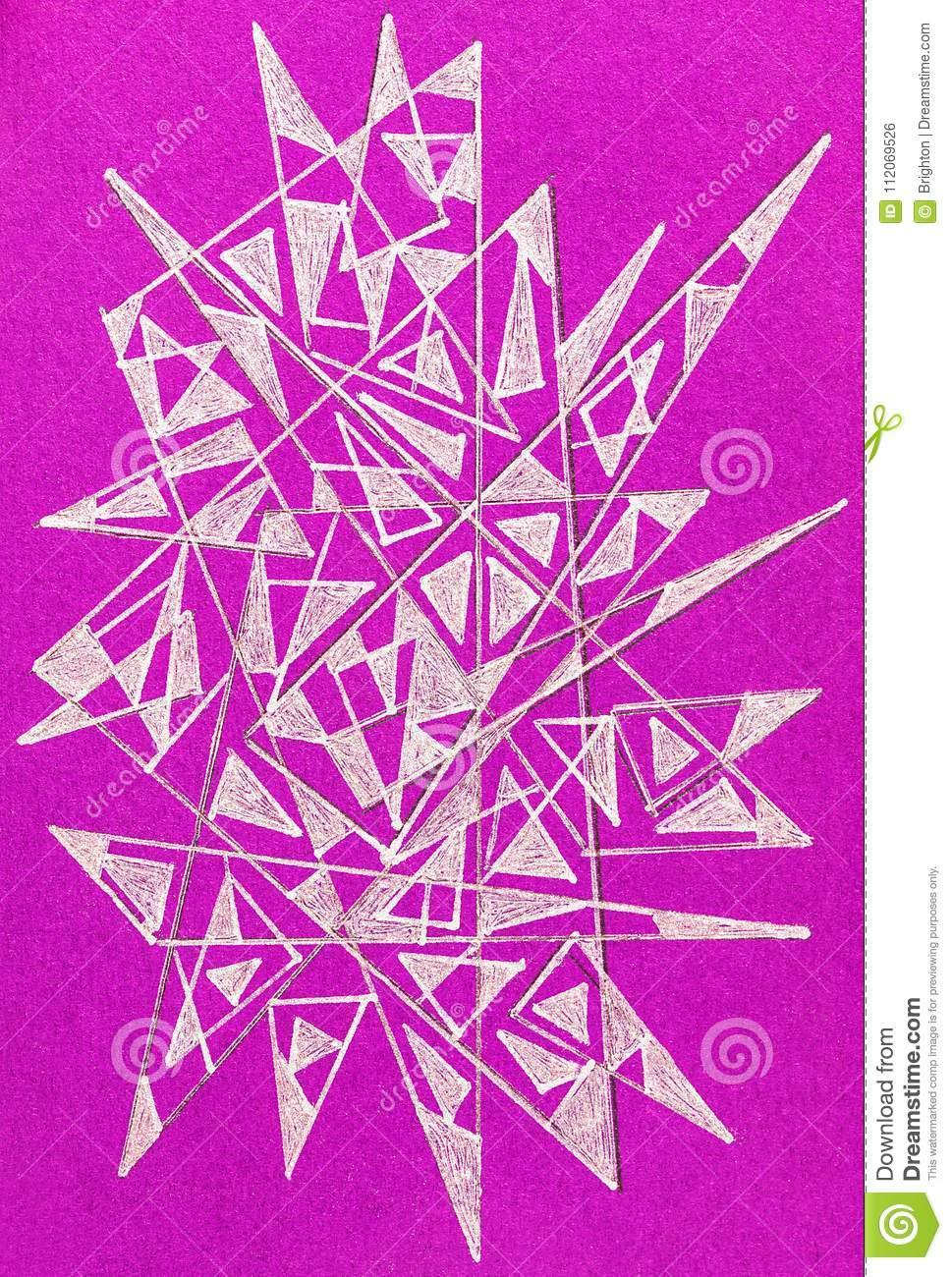 Gel Pen Drawing With Spiky Abstract Shapes Stock Photo