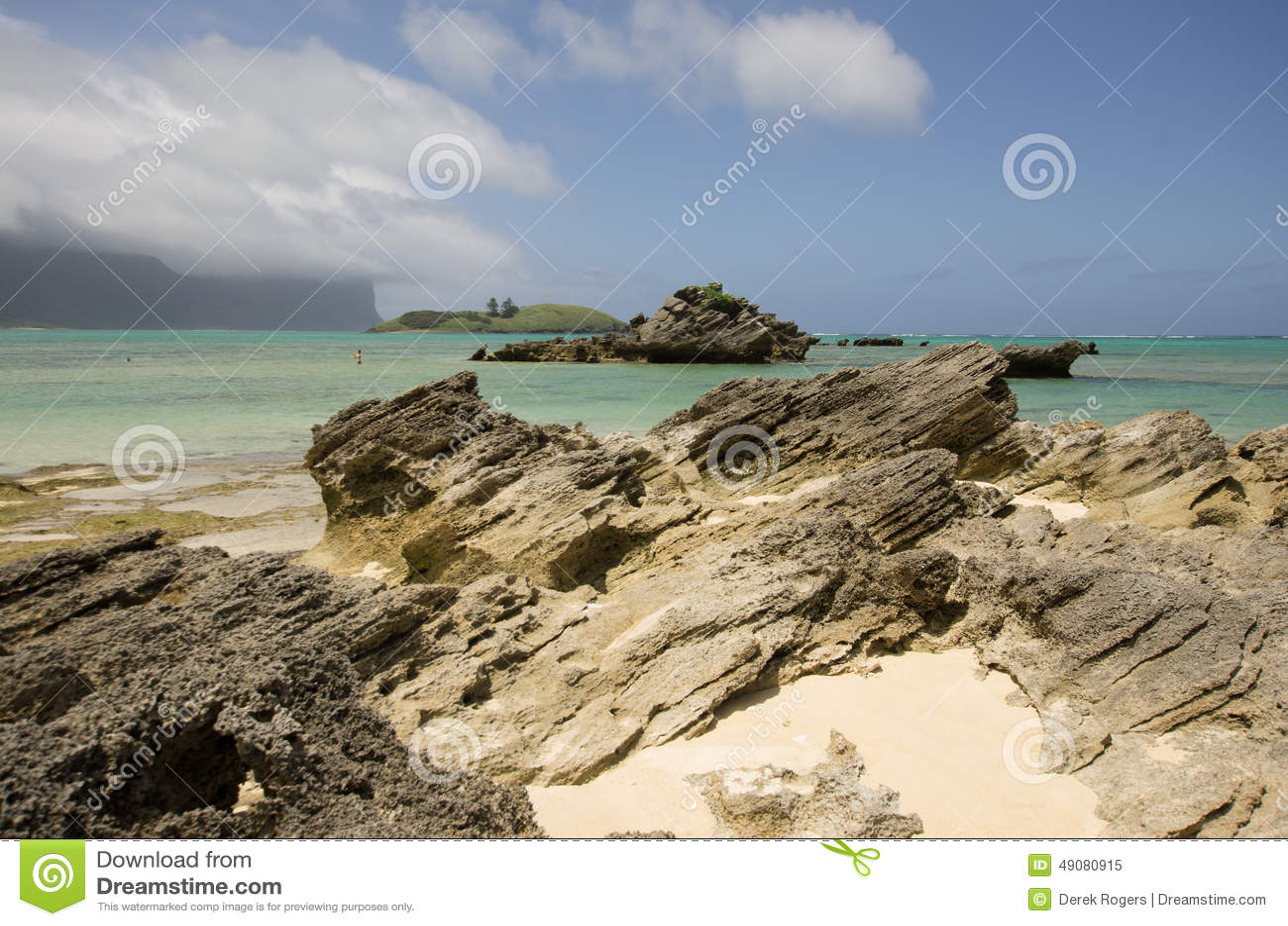 Gelaagd calcarenite bij Lagunestrand Lord Howe Island