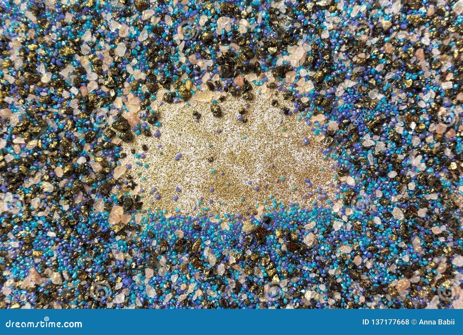 Gelaagd kleurrijk zandpatroon Marmeren stijlachtergrond Blauwe en gouden poedertextuur