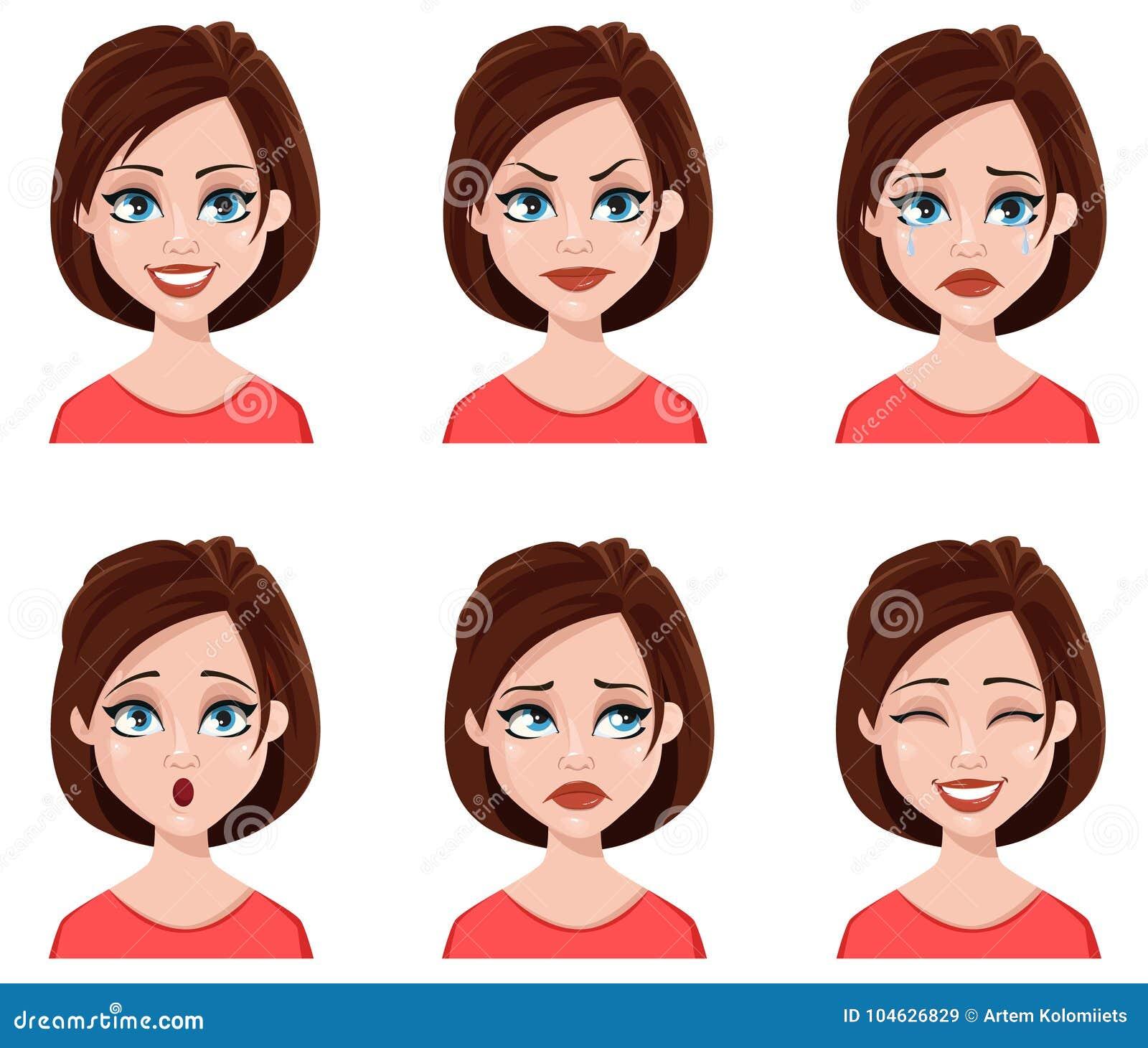 Download Gelaatsuitdrukkingen Van Een Leuke Vrouw Vector Illustratie - Illustratie bestaande uit mooi, emotie: 104626829