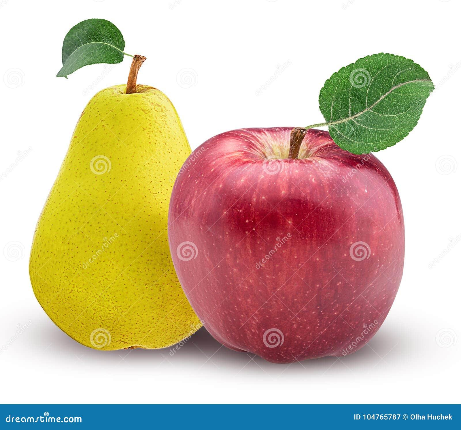 Gelbe Birne Und Roter Apfel Mit Blatt Stockbild - Bild von farbe ...