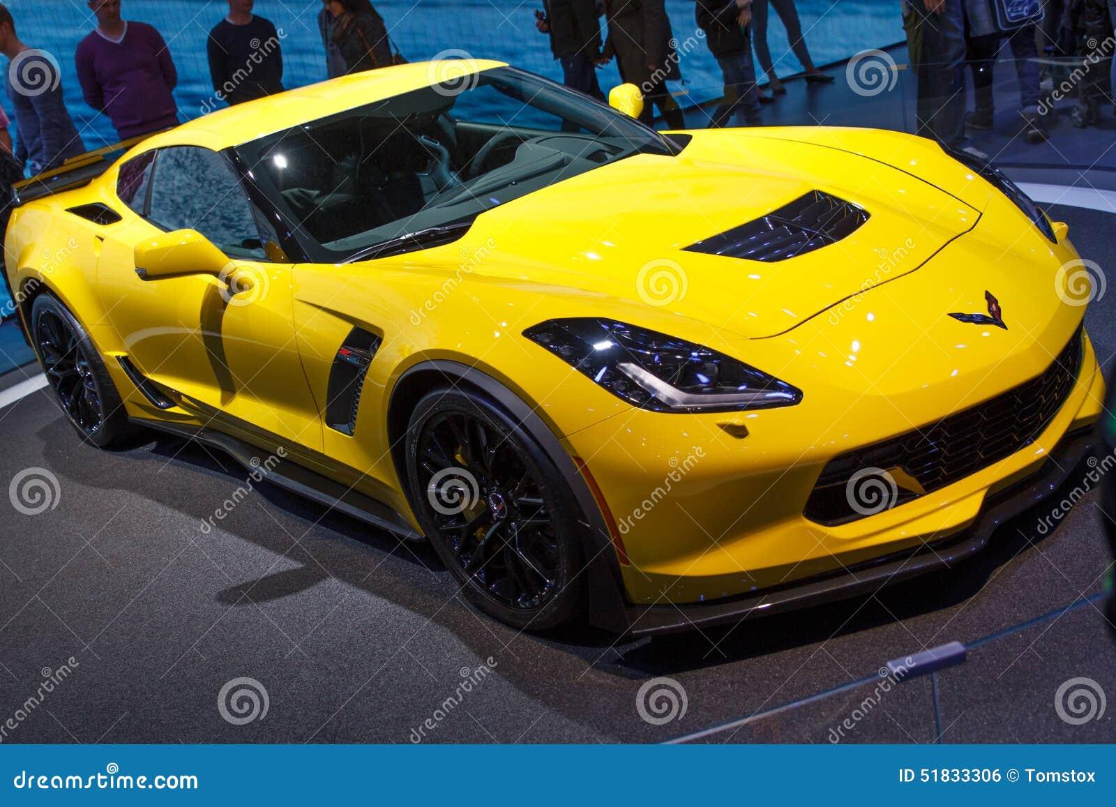 Gelbe Chevrolet Corvette Z06 Genf Autoausstellung 2015