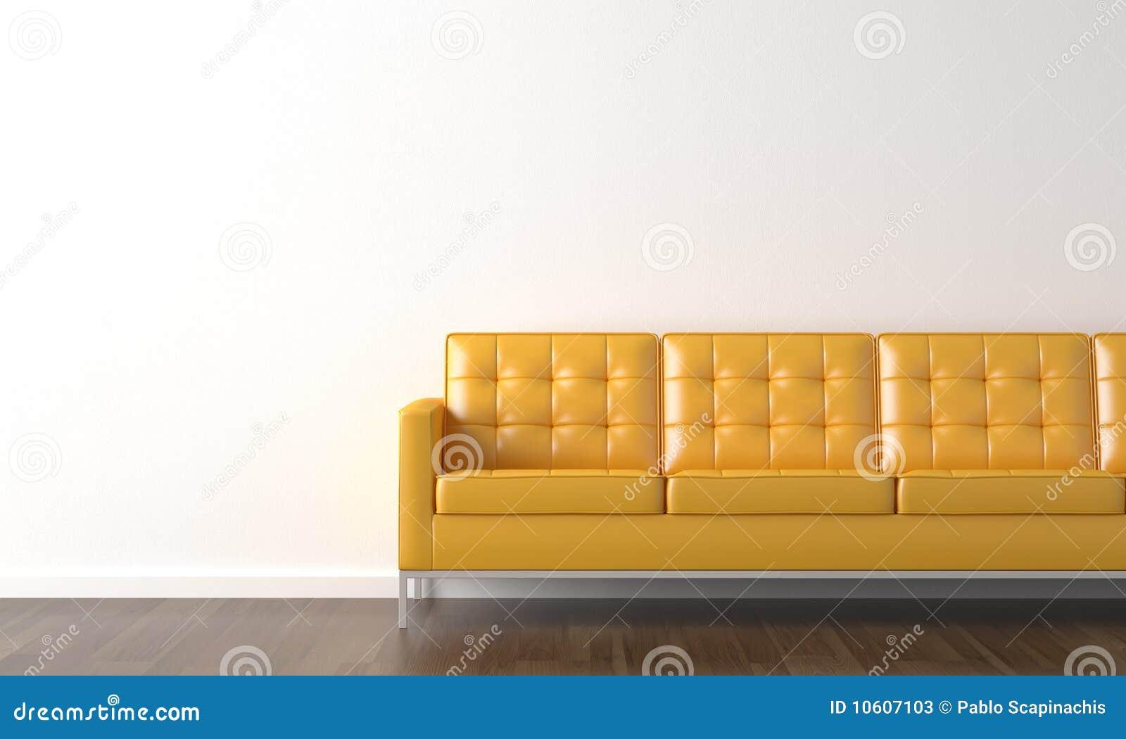 gelbe couch auf wei er wand stockfotos bild 10607103. Black Bedroom Furniture Sets. Home Design Ideas