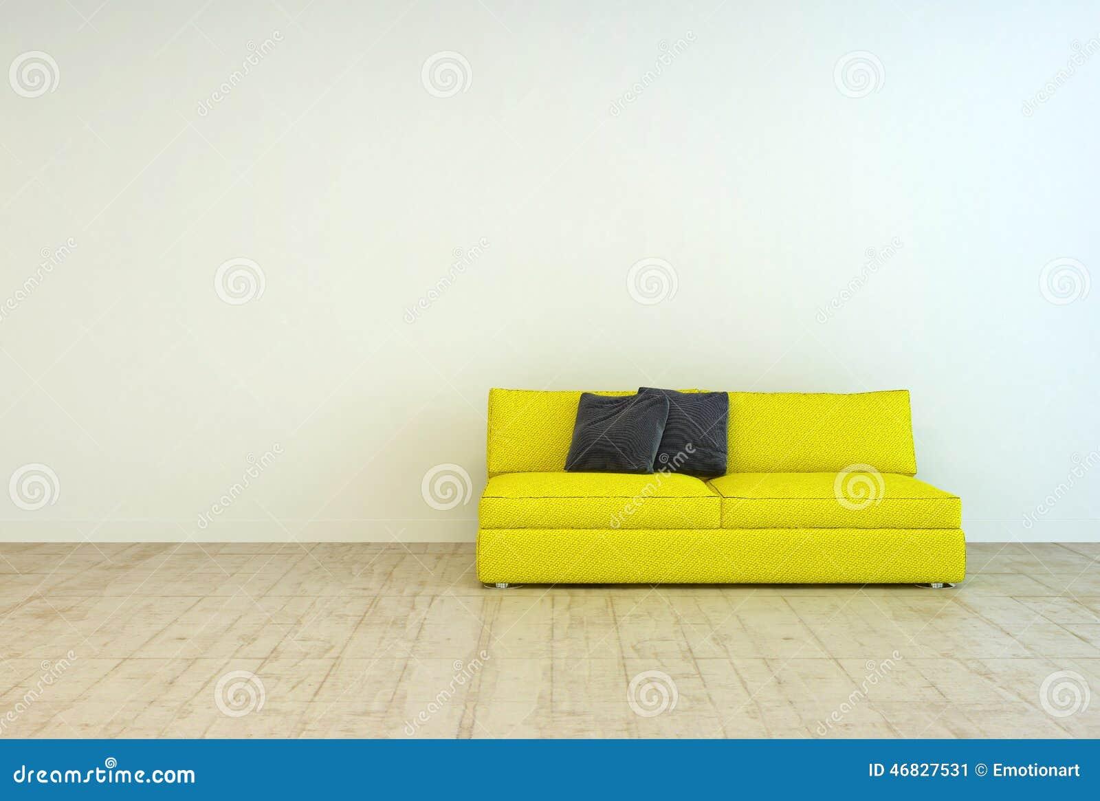 gelbe couch m bel auf einem leeren wohnzimmer stock. Black Bedroom Furniture Sets. Home Design Ideas